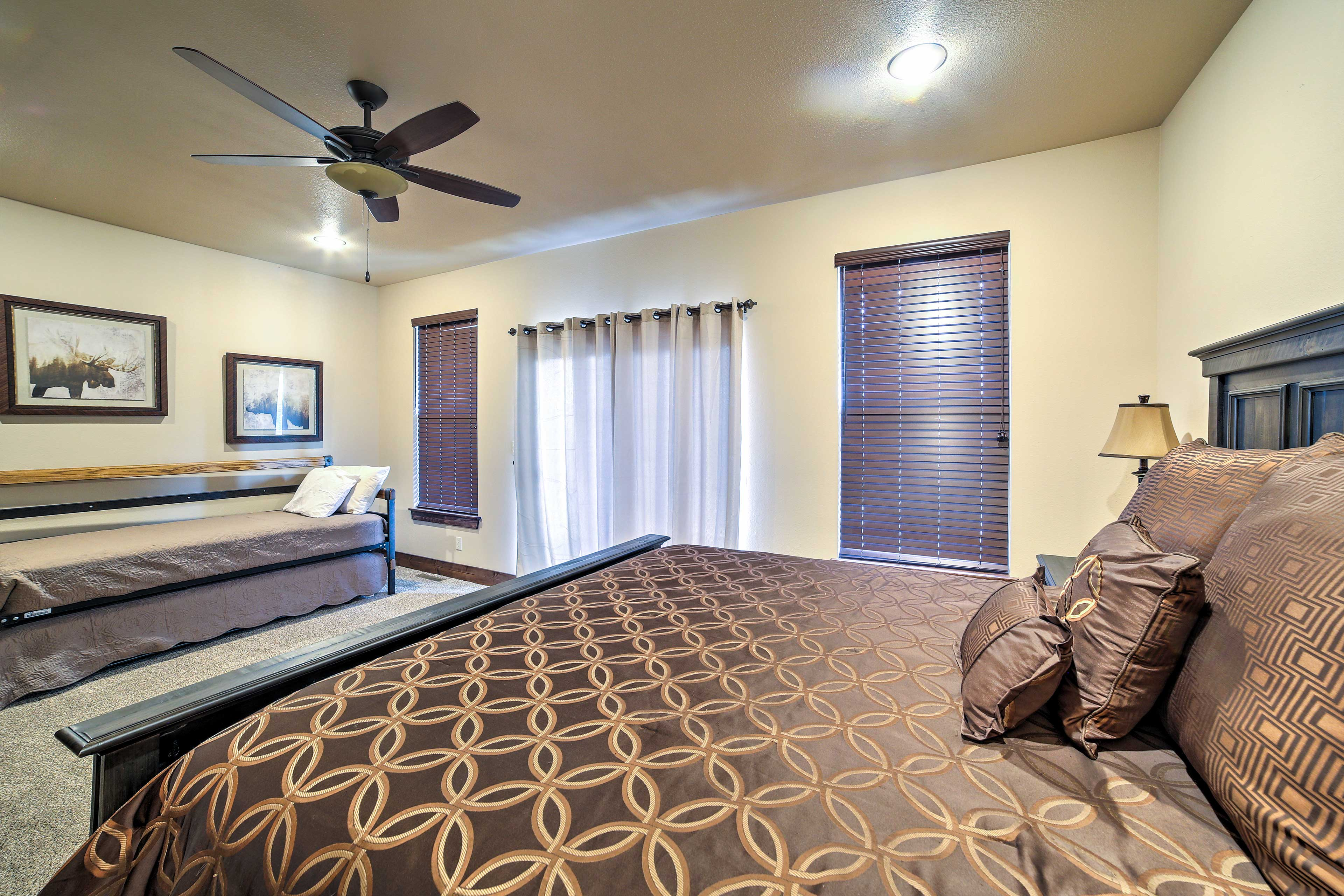 Let the breeze from the ceiling fan usher you to sleep.