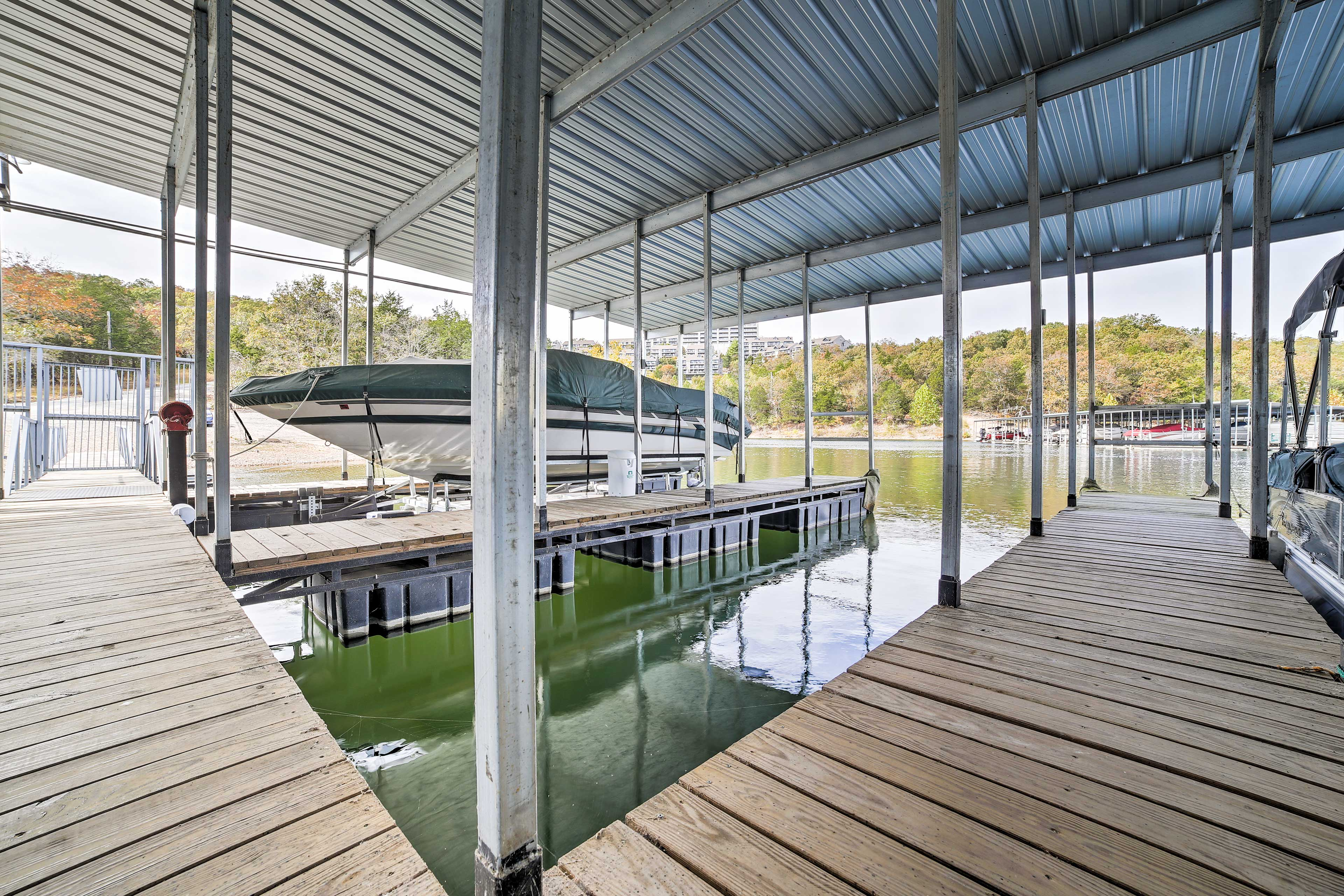 Take a short stroll from the house down to the lake for swimming and fishing off of the dock!