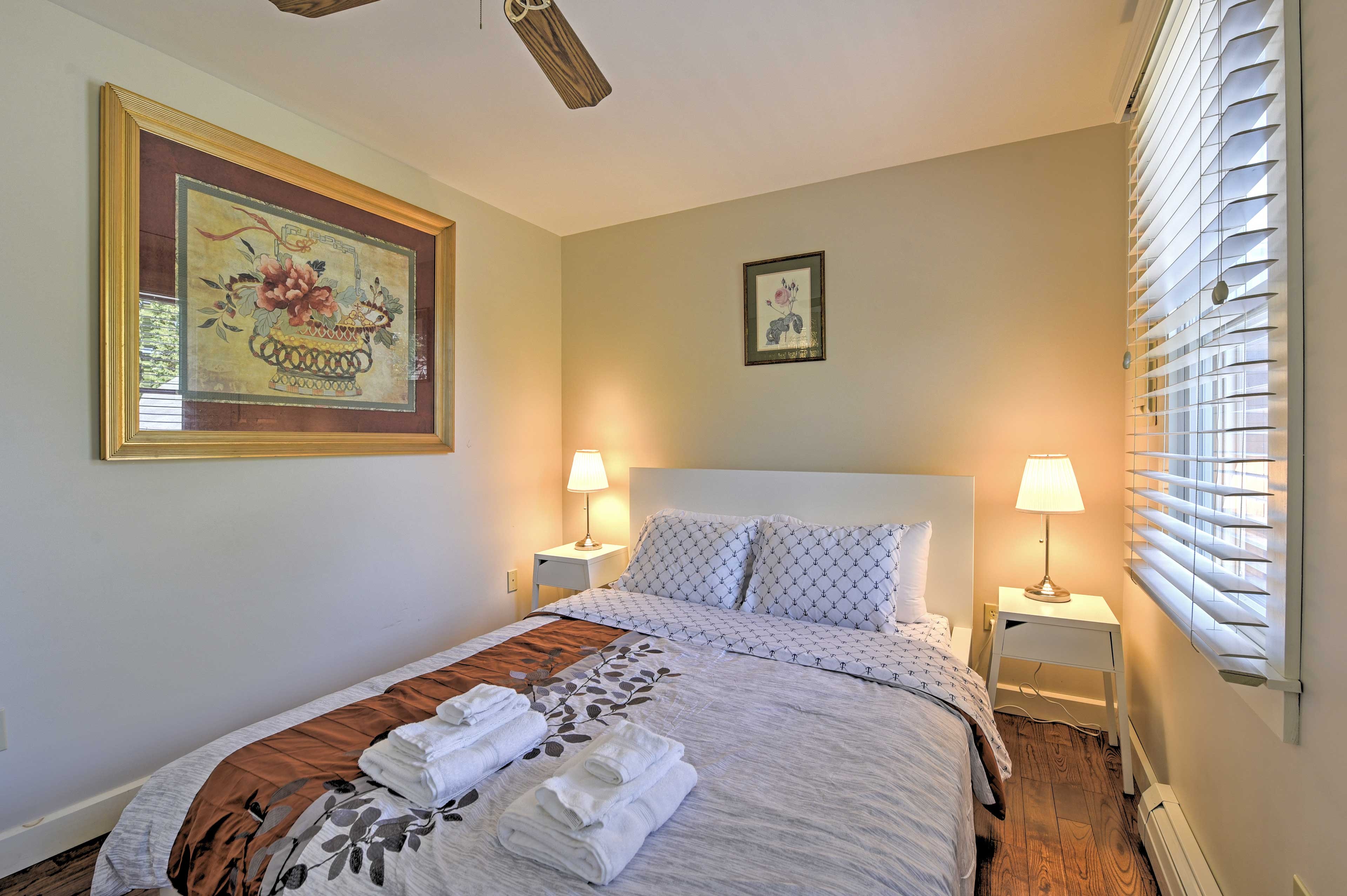 Each bedroom features a plush queen-sized bed.