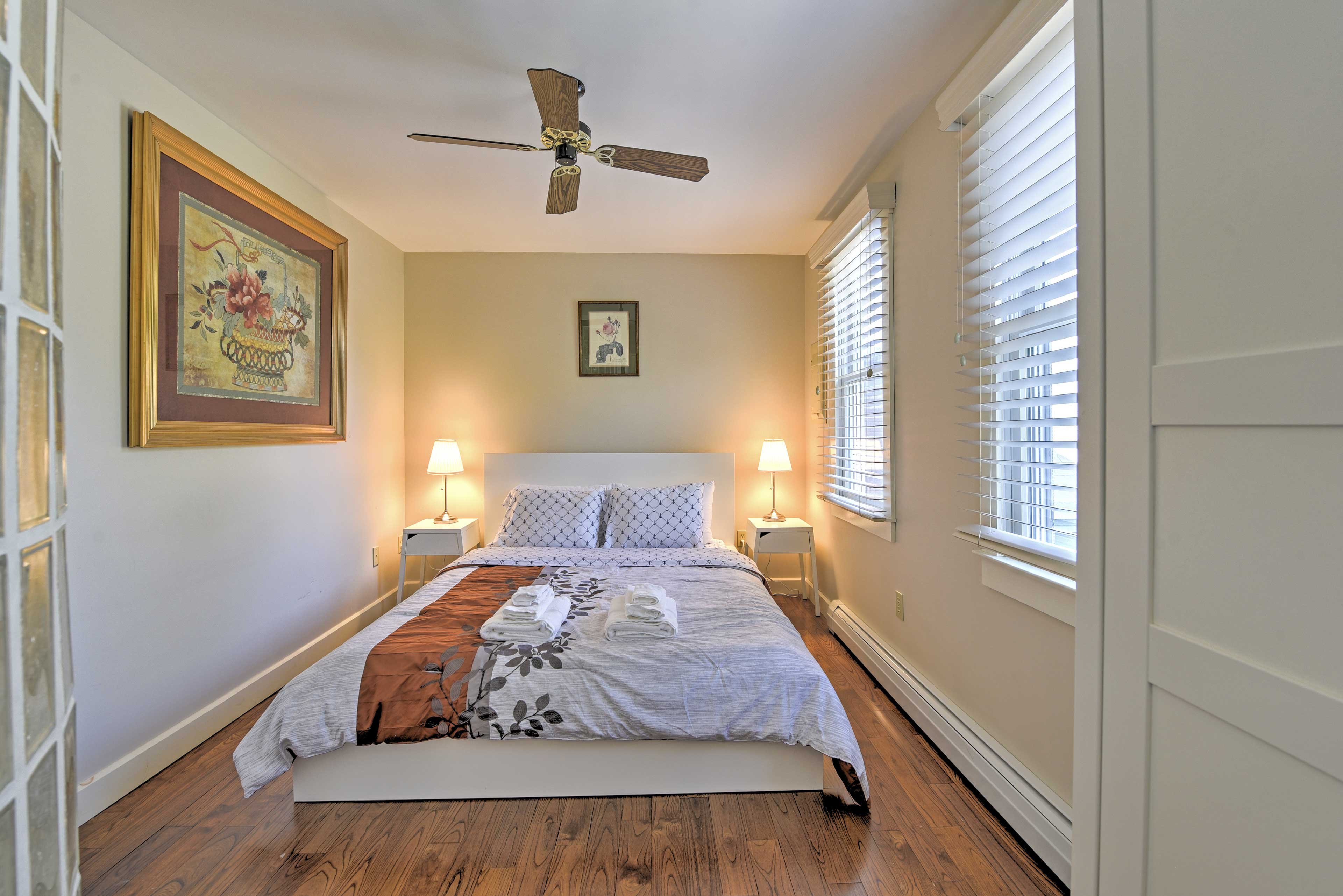Two bedrooms comfortably sleep 4 guests.