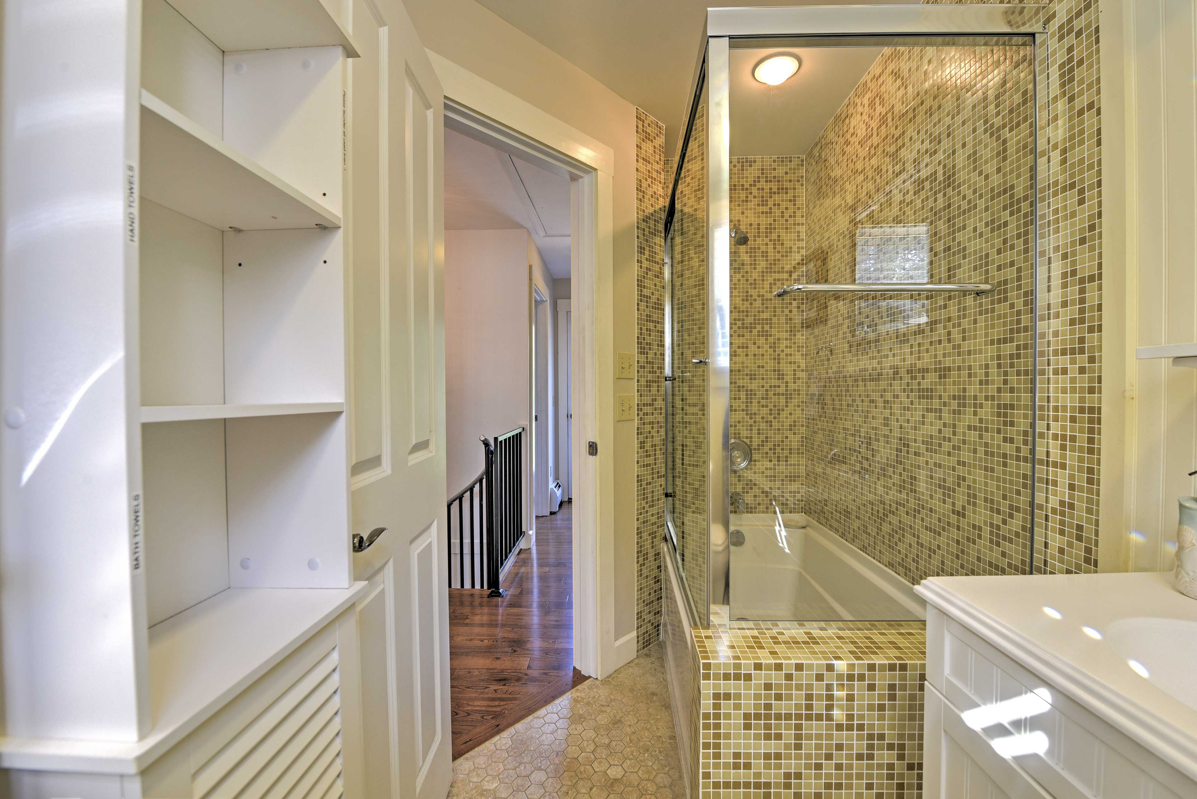 Rinse off in the shower or soak in the tub.