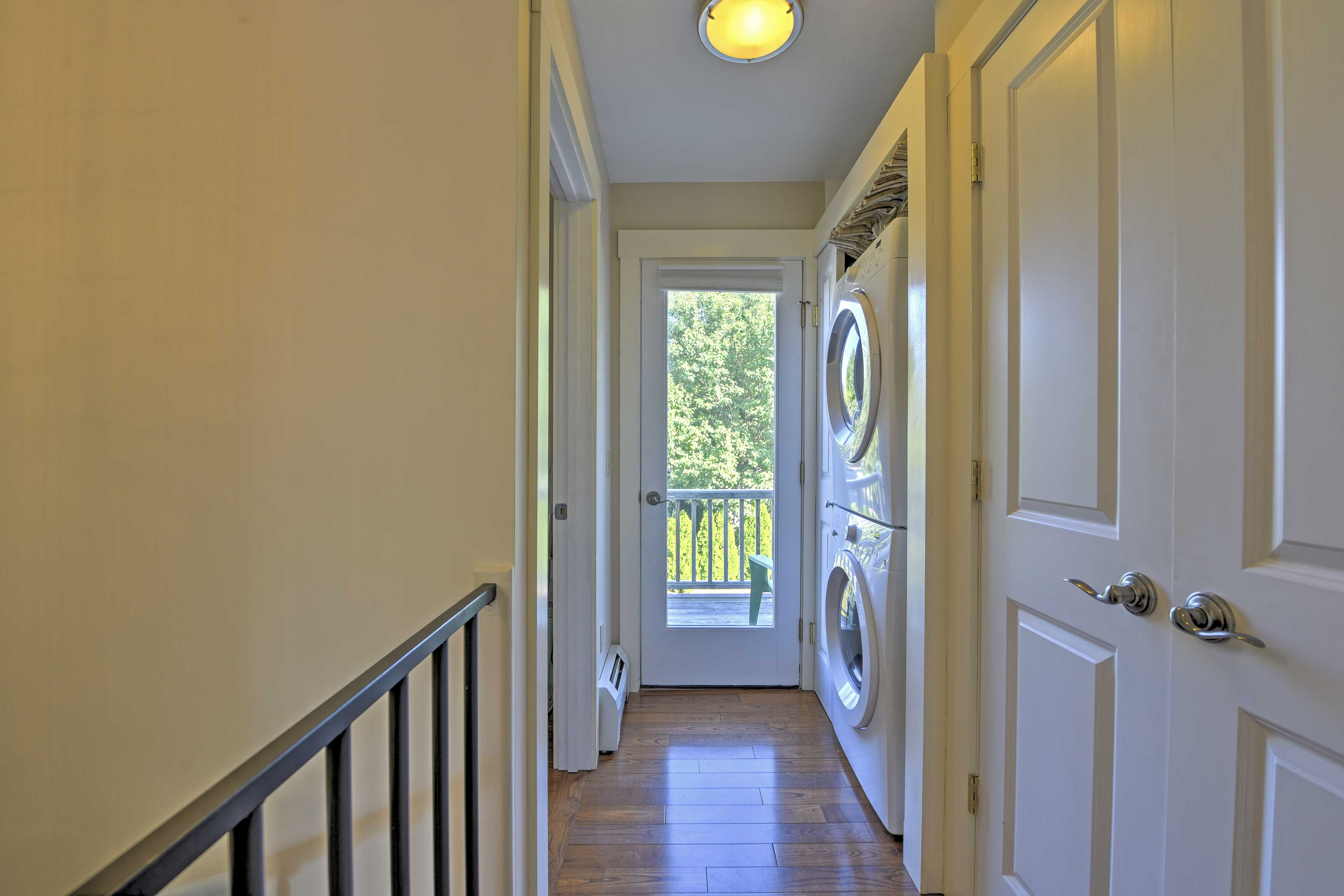 This condo is equipped with in-unit laundry machines.