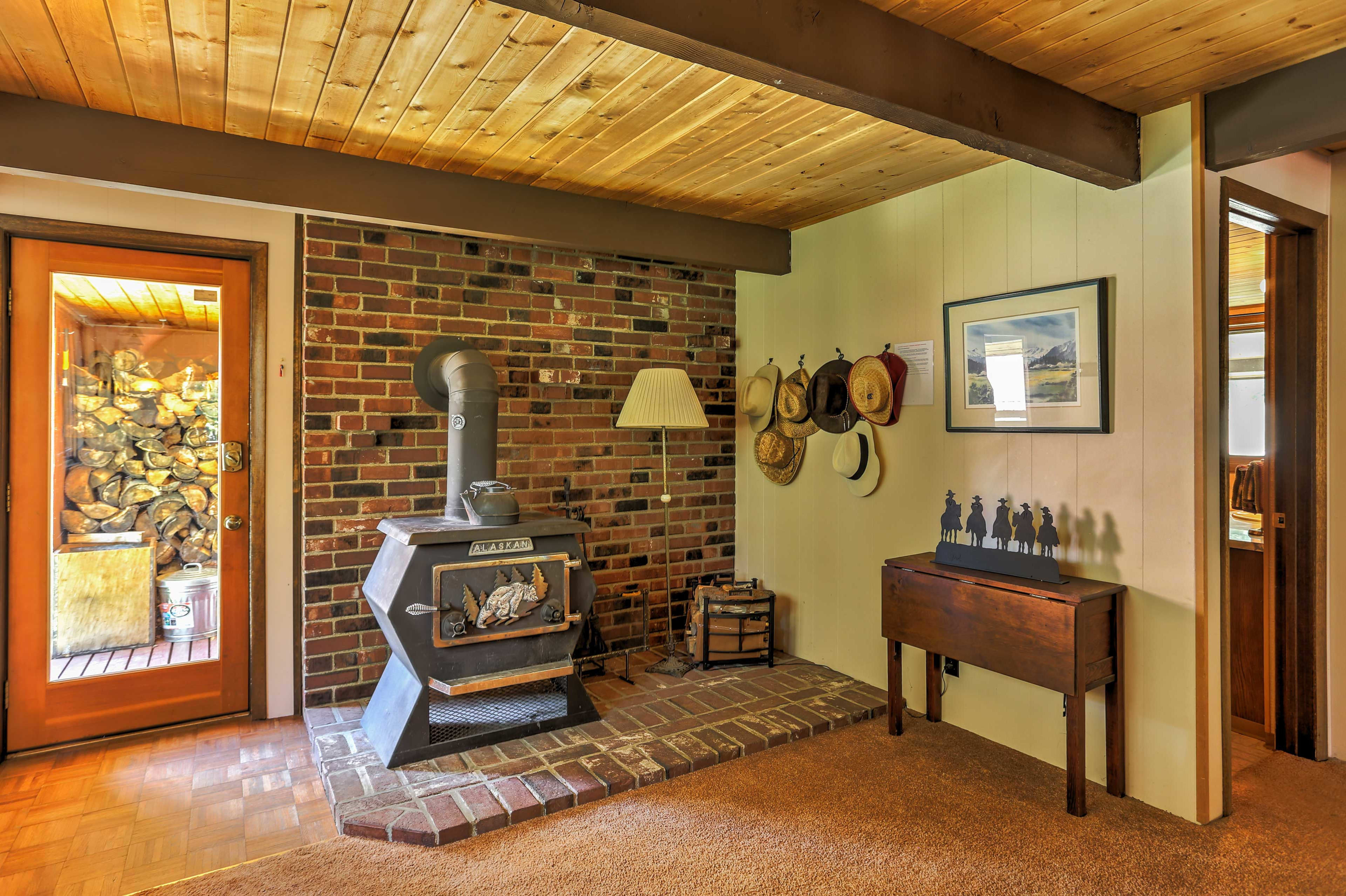Stay warm by the wood-burning stove.