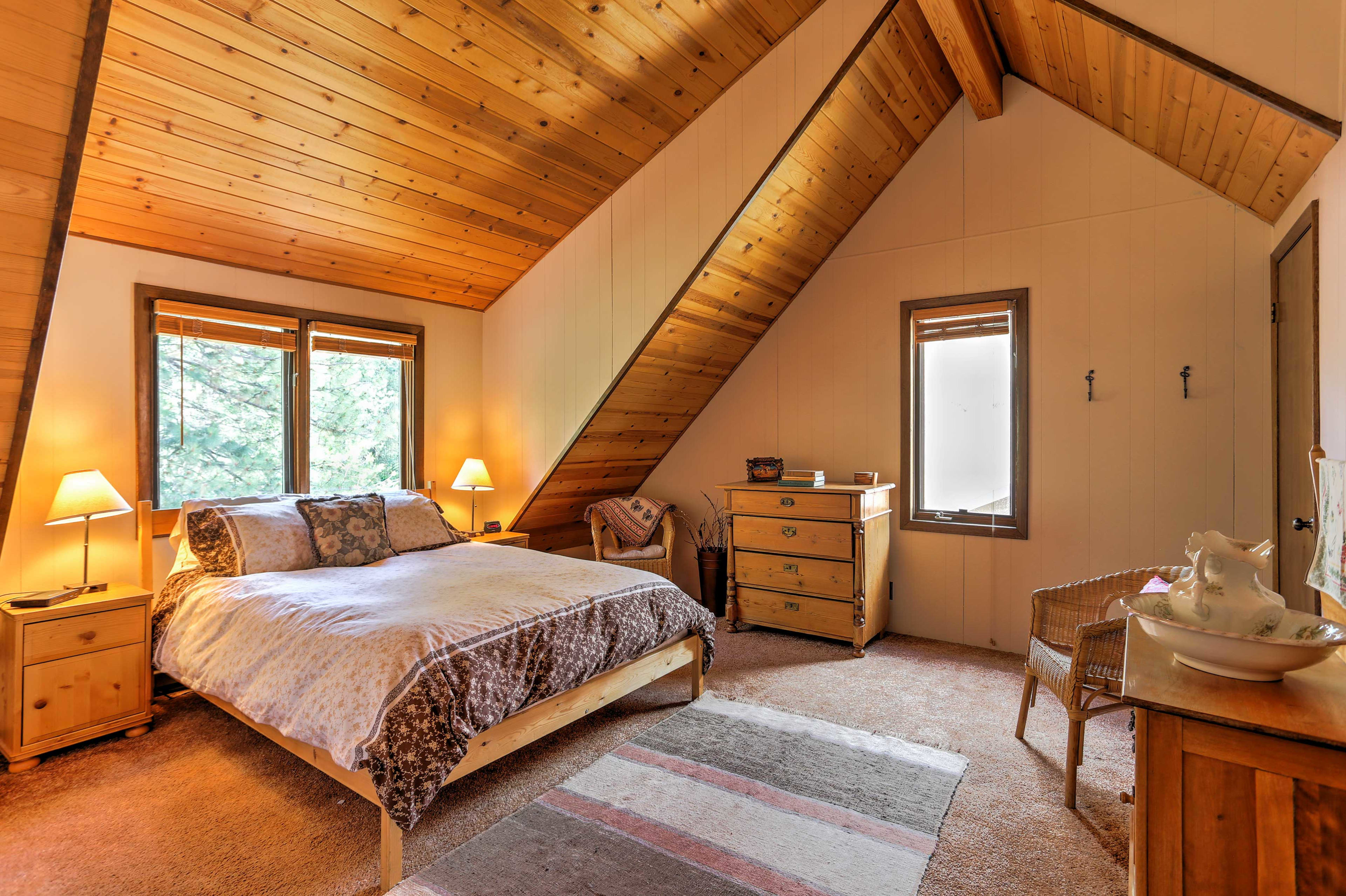 Two guests will sleep comfortably in the queen-sized bed in the master bedroom.