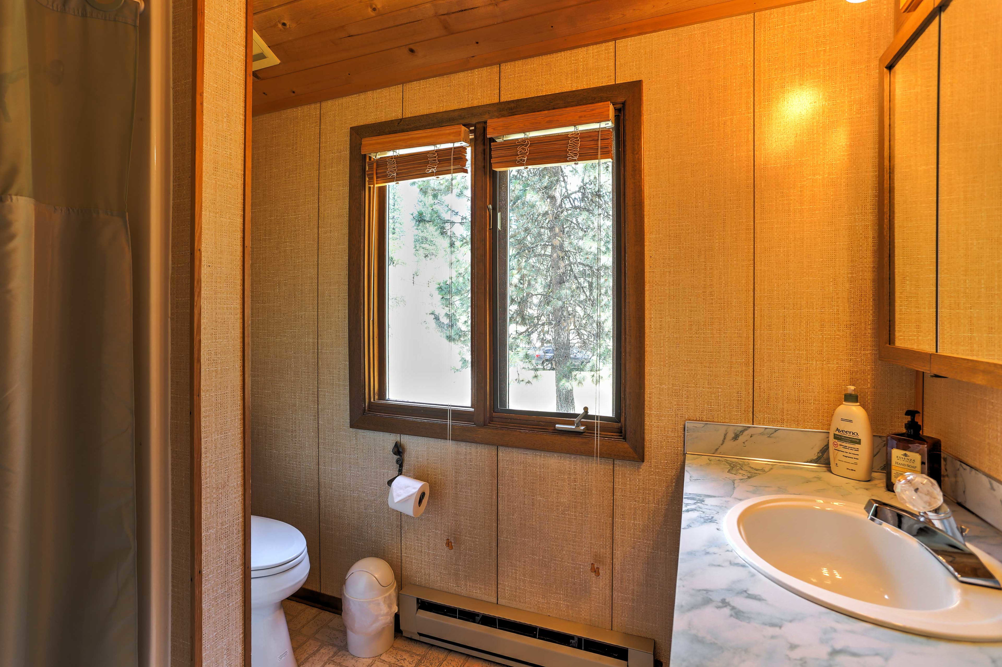 The master bedroom has it's own full bathroom.