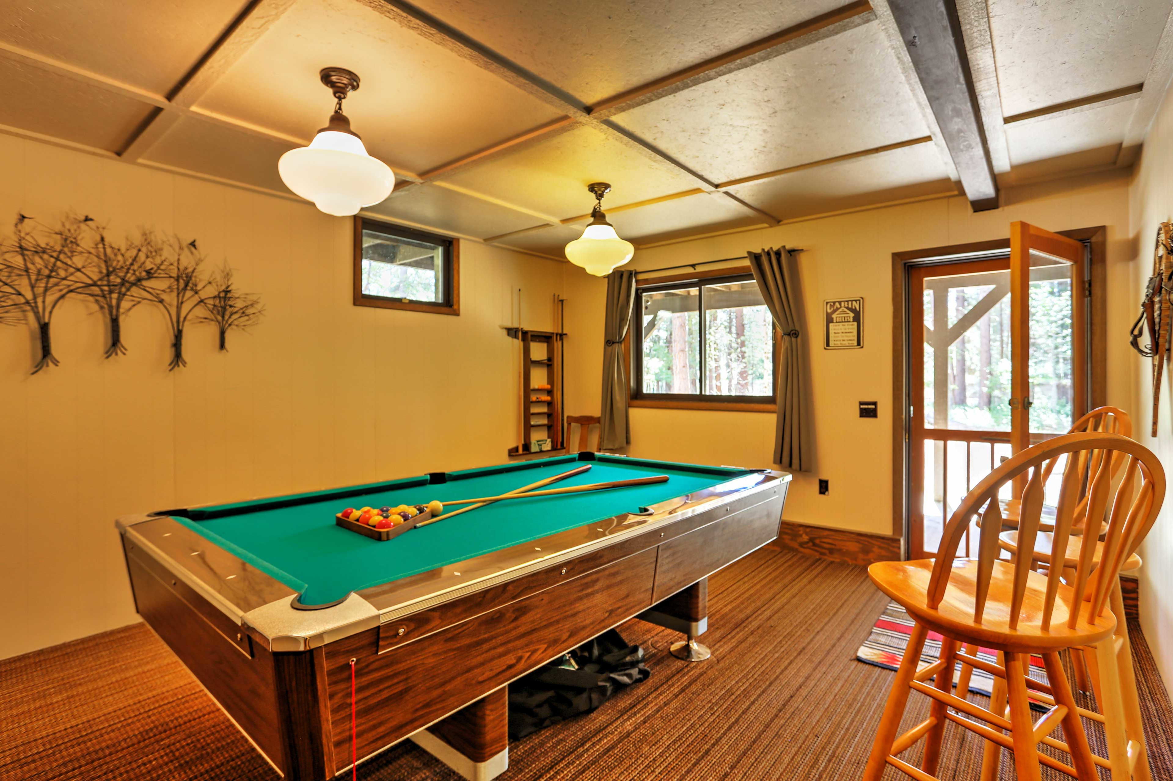 Challenge your travel companions to a game of pool or ping pong in the basement.