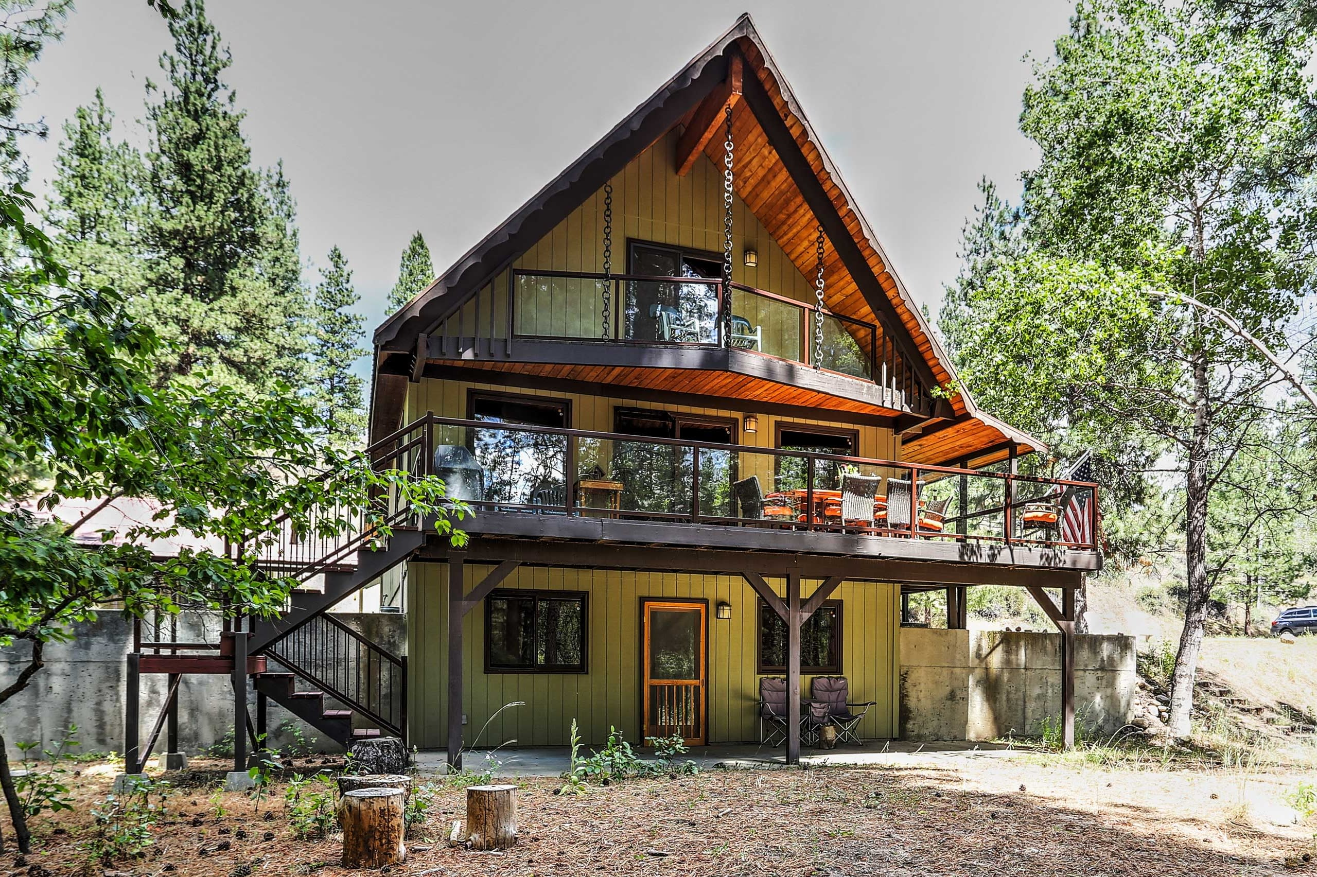 The beautiful house sits on 2 acres of wooded property.