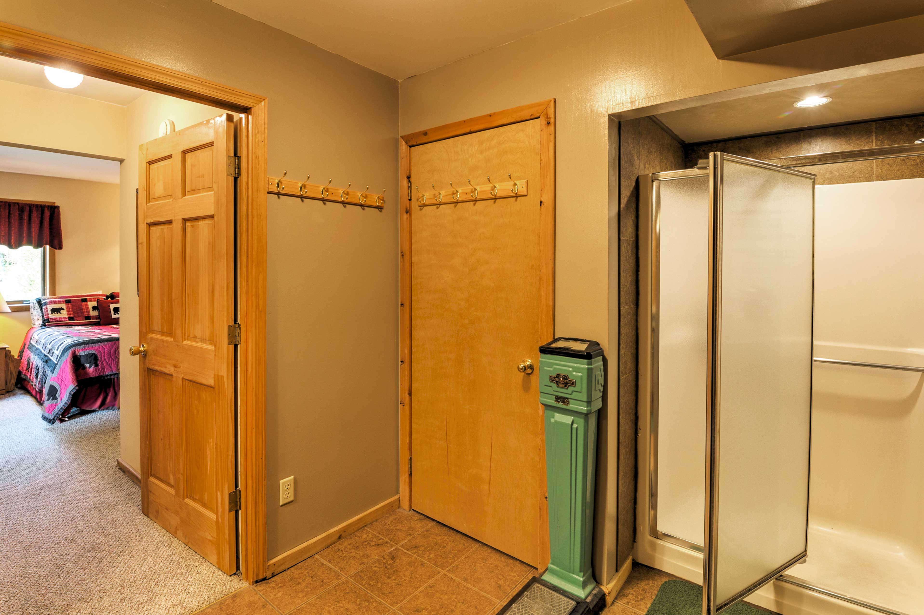 The en-suite master bathroom has a stand-up shower.
