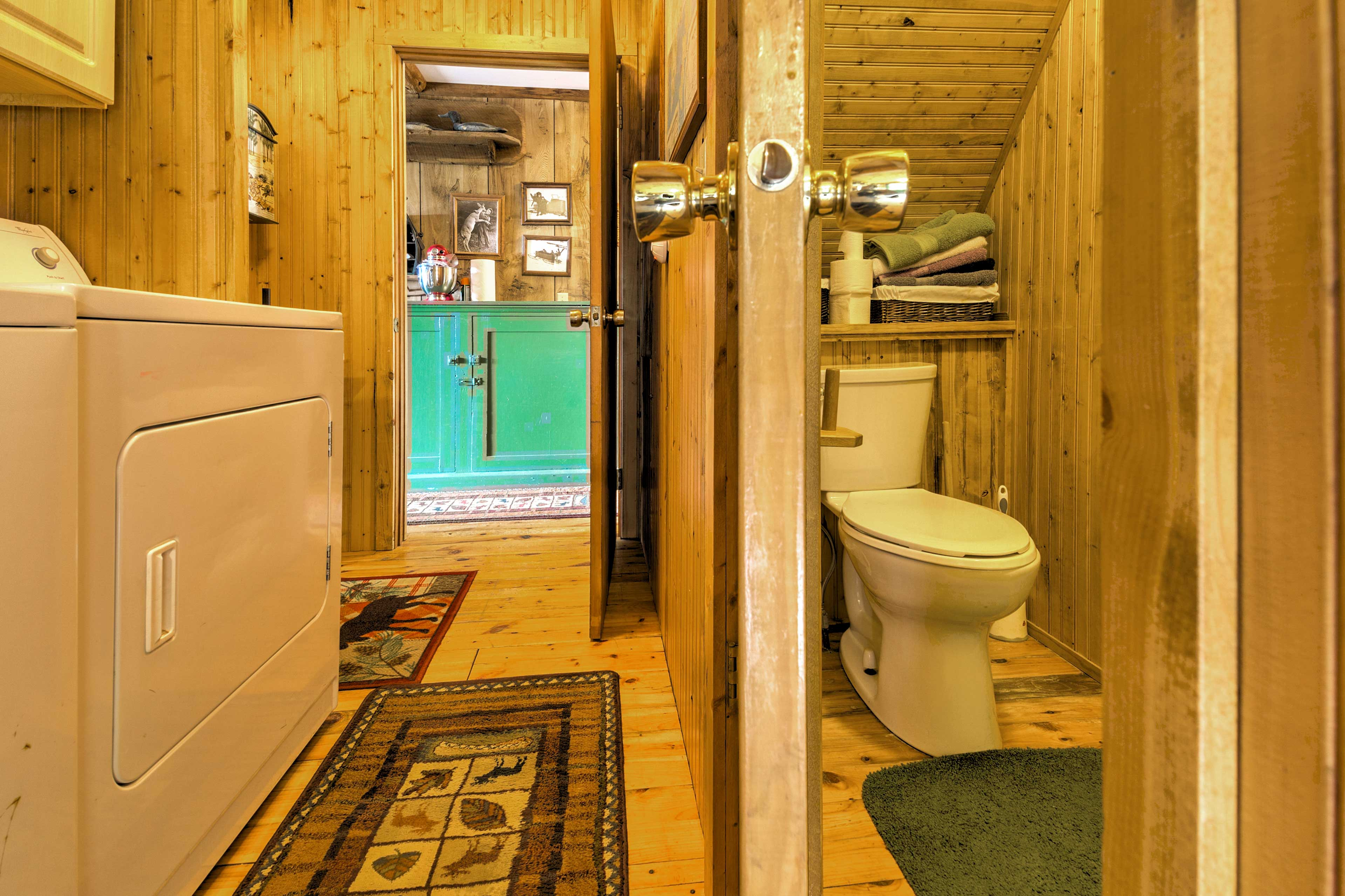 The second bathroom is located right off the kitchen.