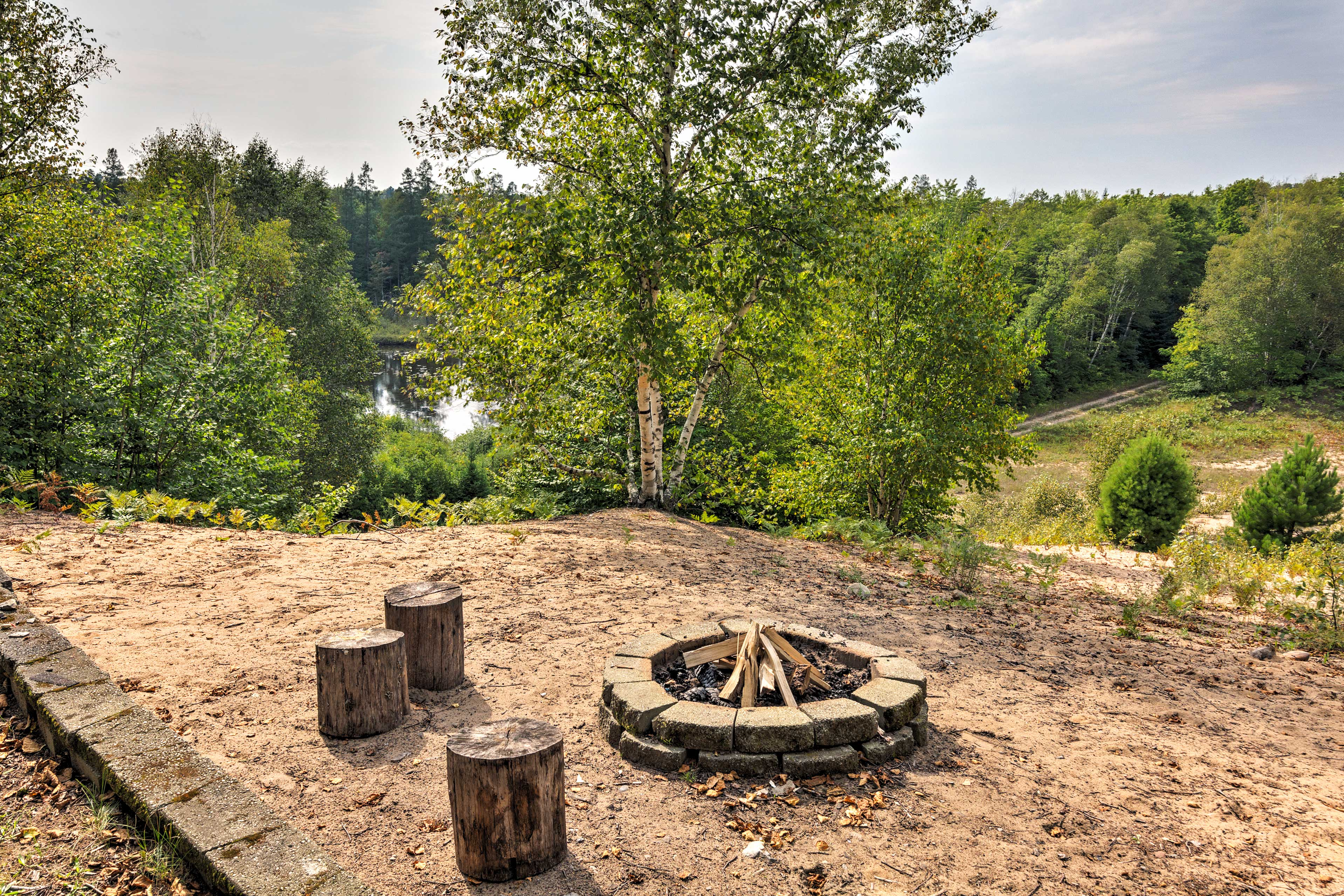 End the night with a campfire at the outdoor fire pit.