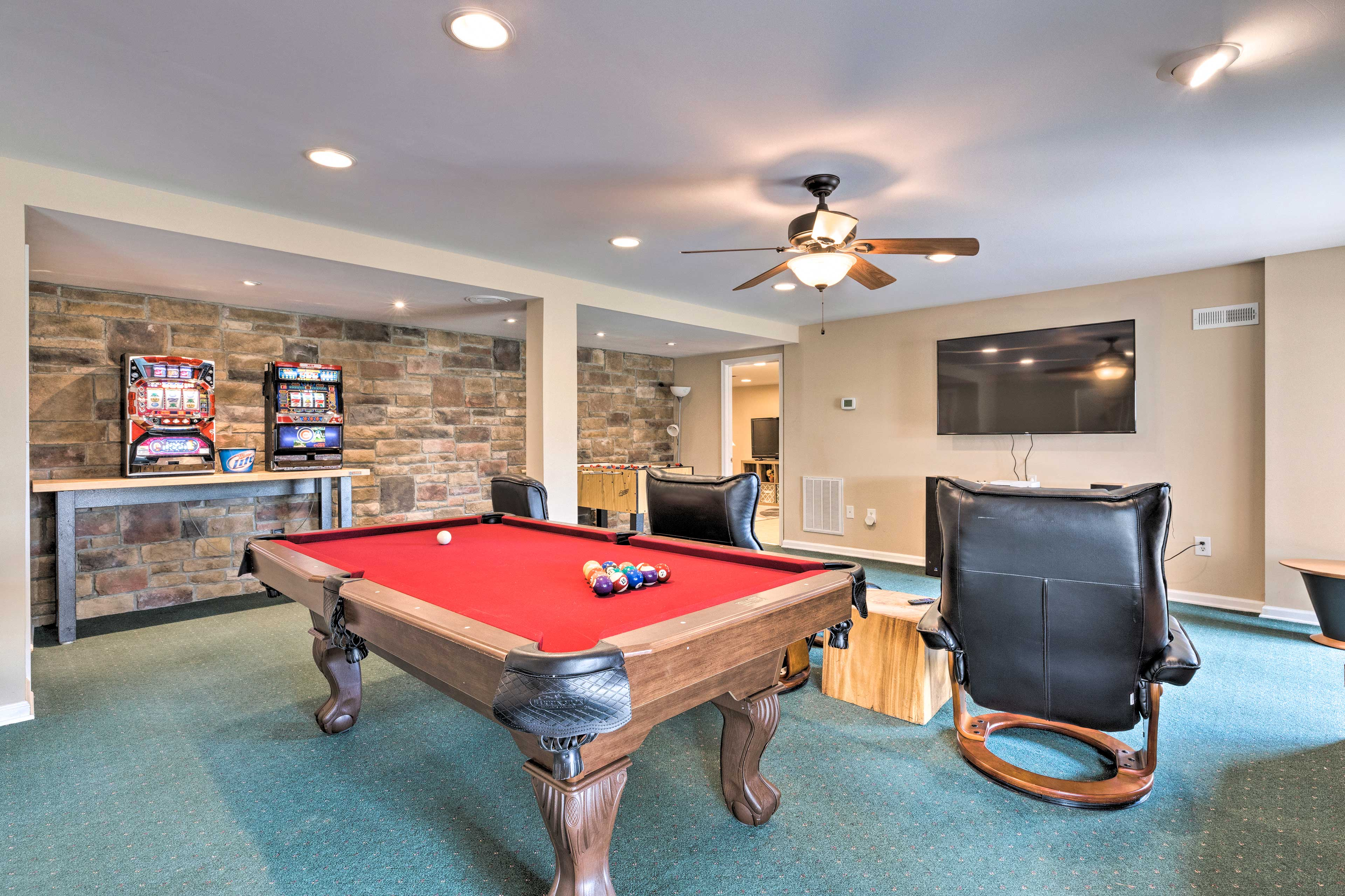 Downstairs Game Room   Pool Table   Foosball Table   TV w/ YouTube TV