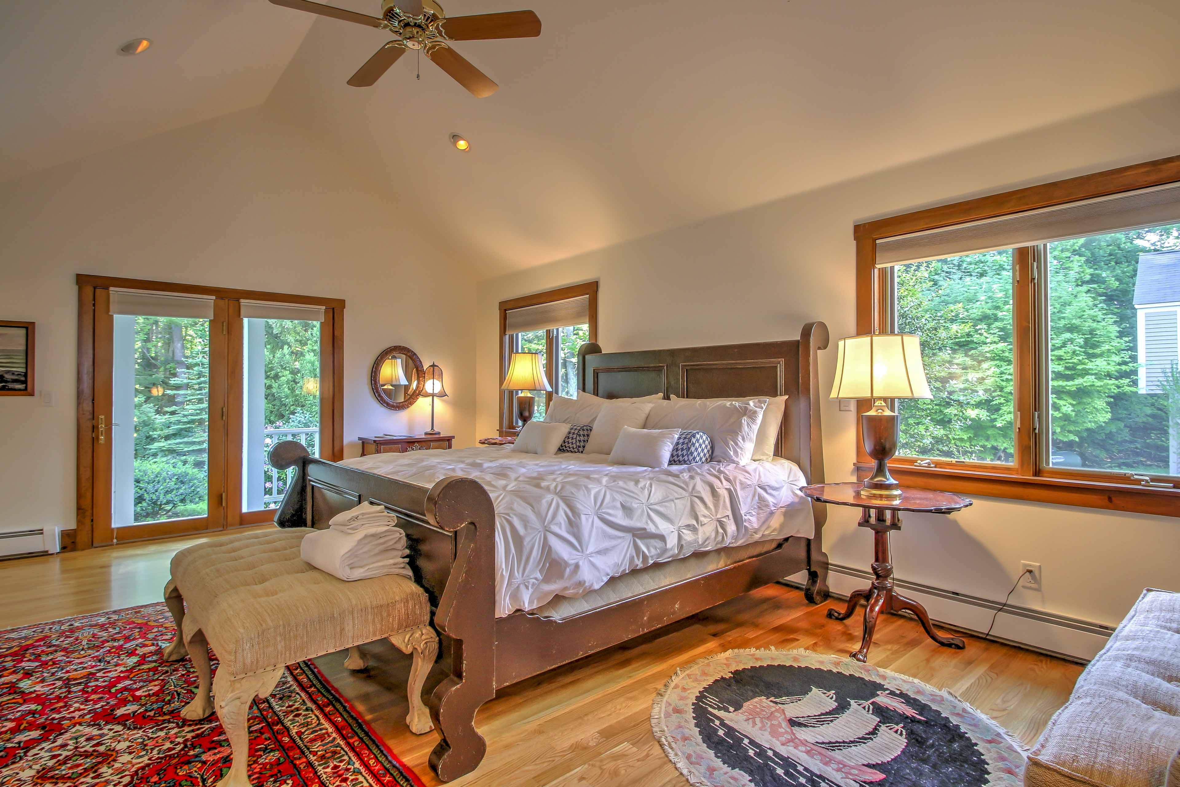 The master bedroom features a king bed and a spacious en suite bathroom.