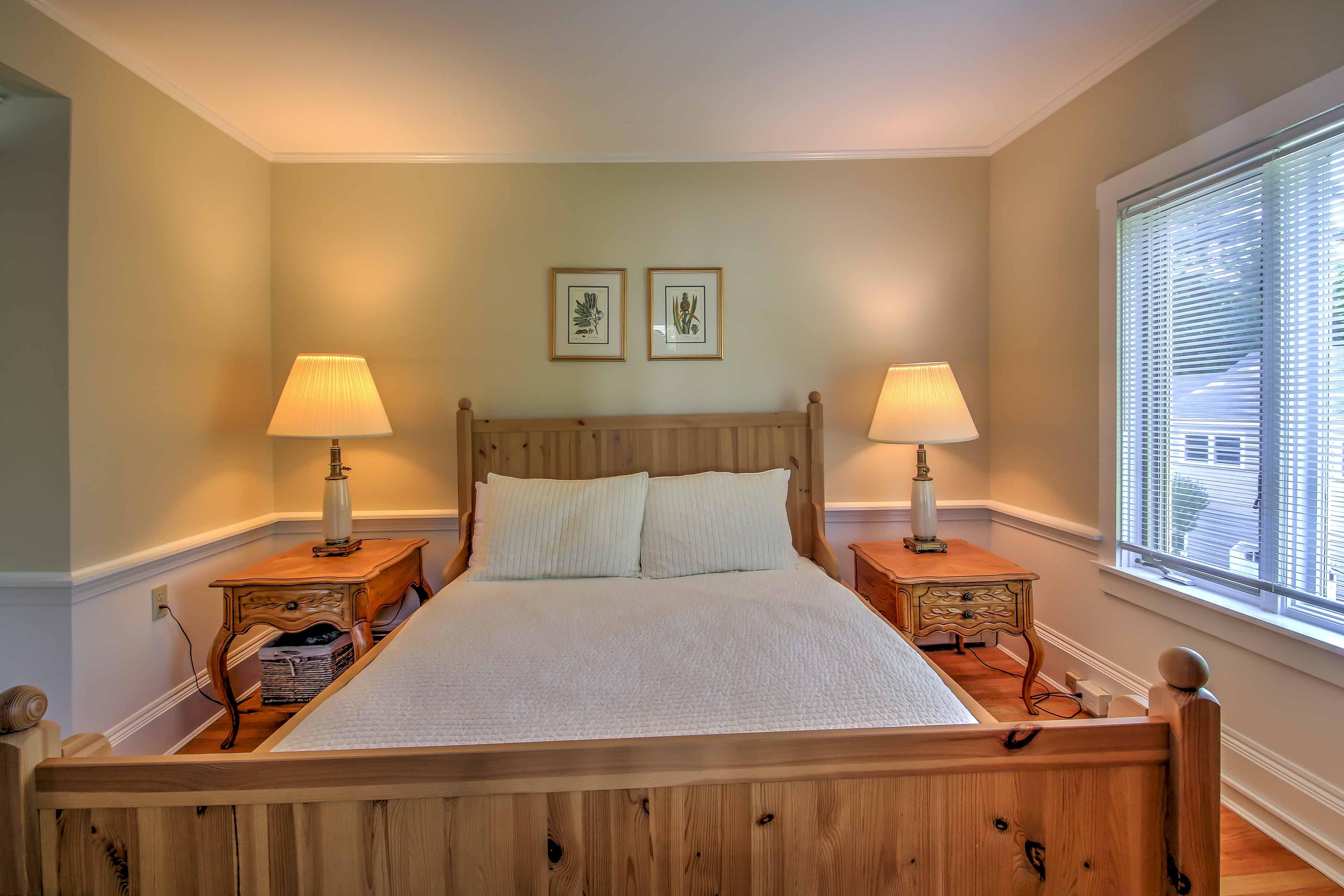 Each bedroom offers plush mattresses, soft linens, and unique, stylish decor.