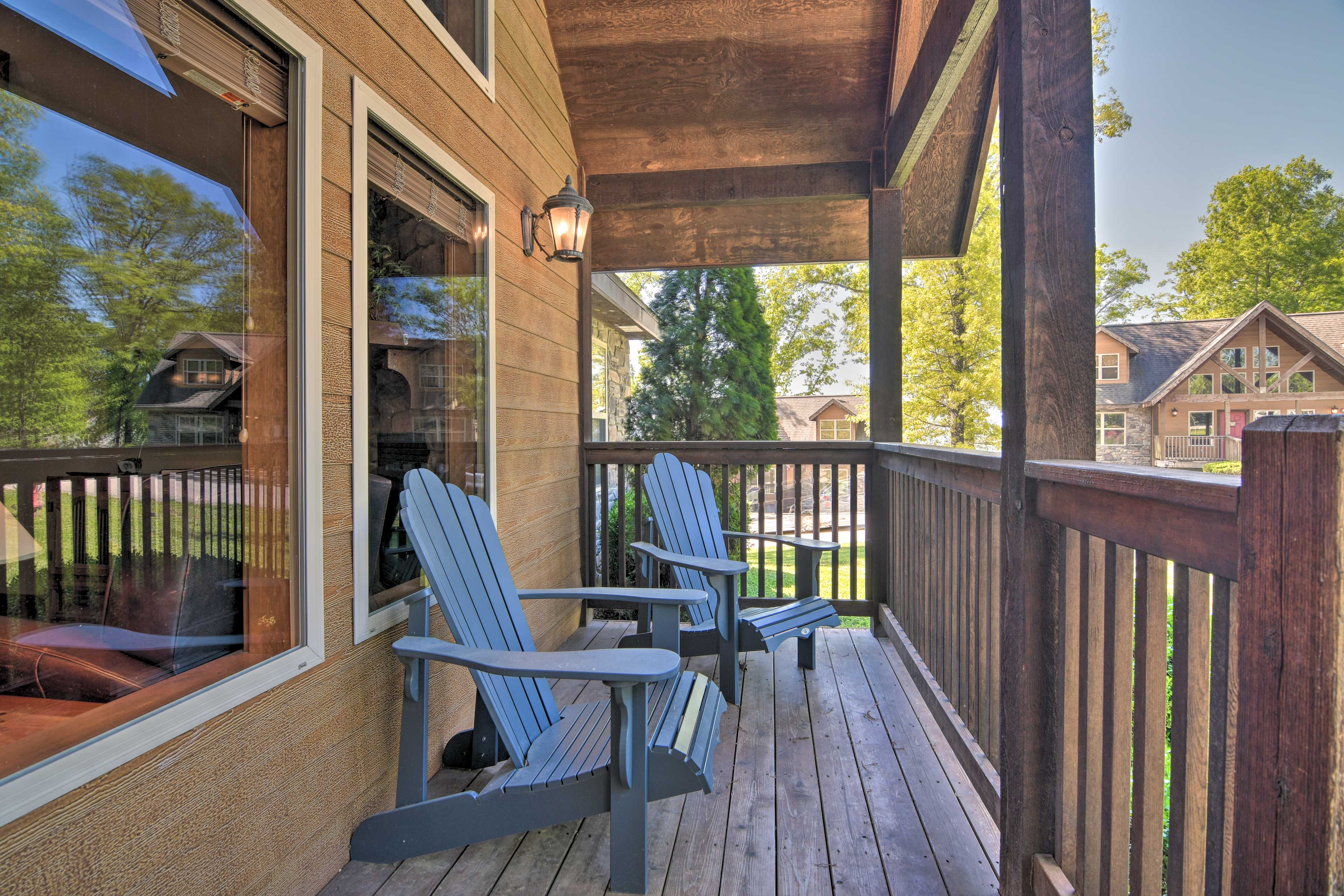 Exterior   Covered Front Porch   Adirondack Chairs