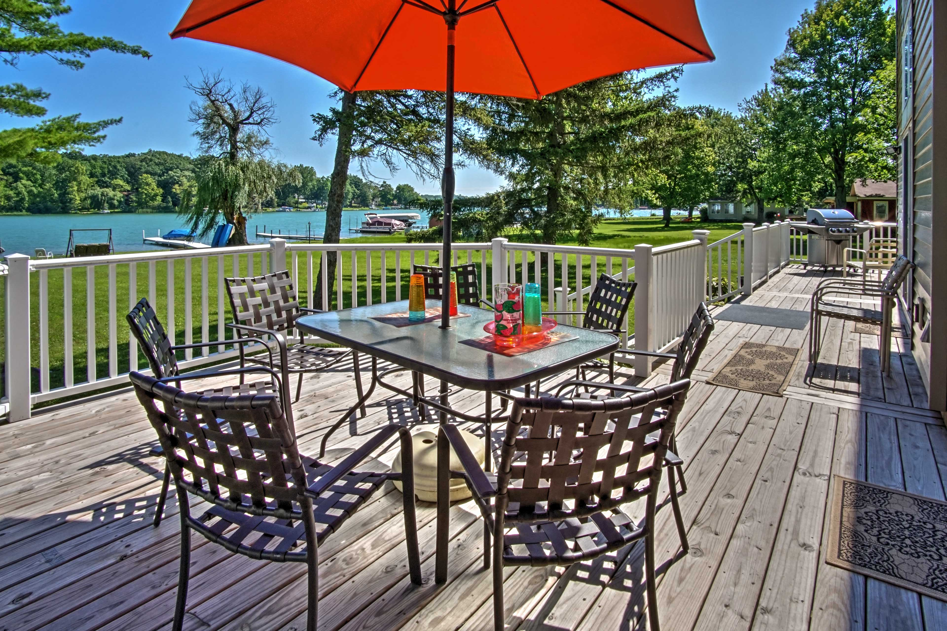 Revel in the scenic views while sipping a drink at this shaded patio table.