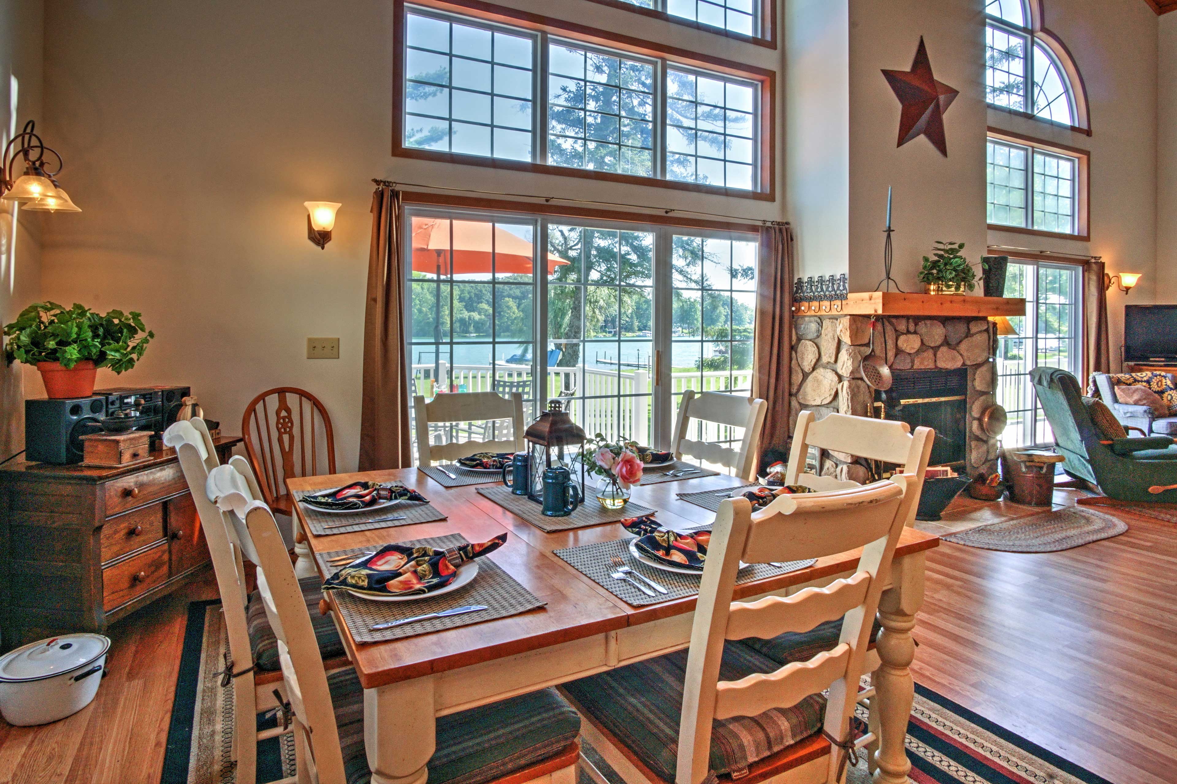 Dine on a gourmet meal at the wood table with seating for 6.