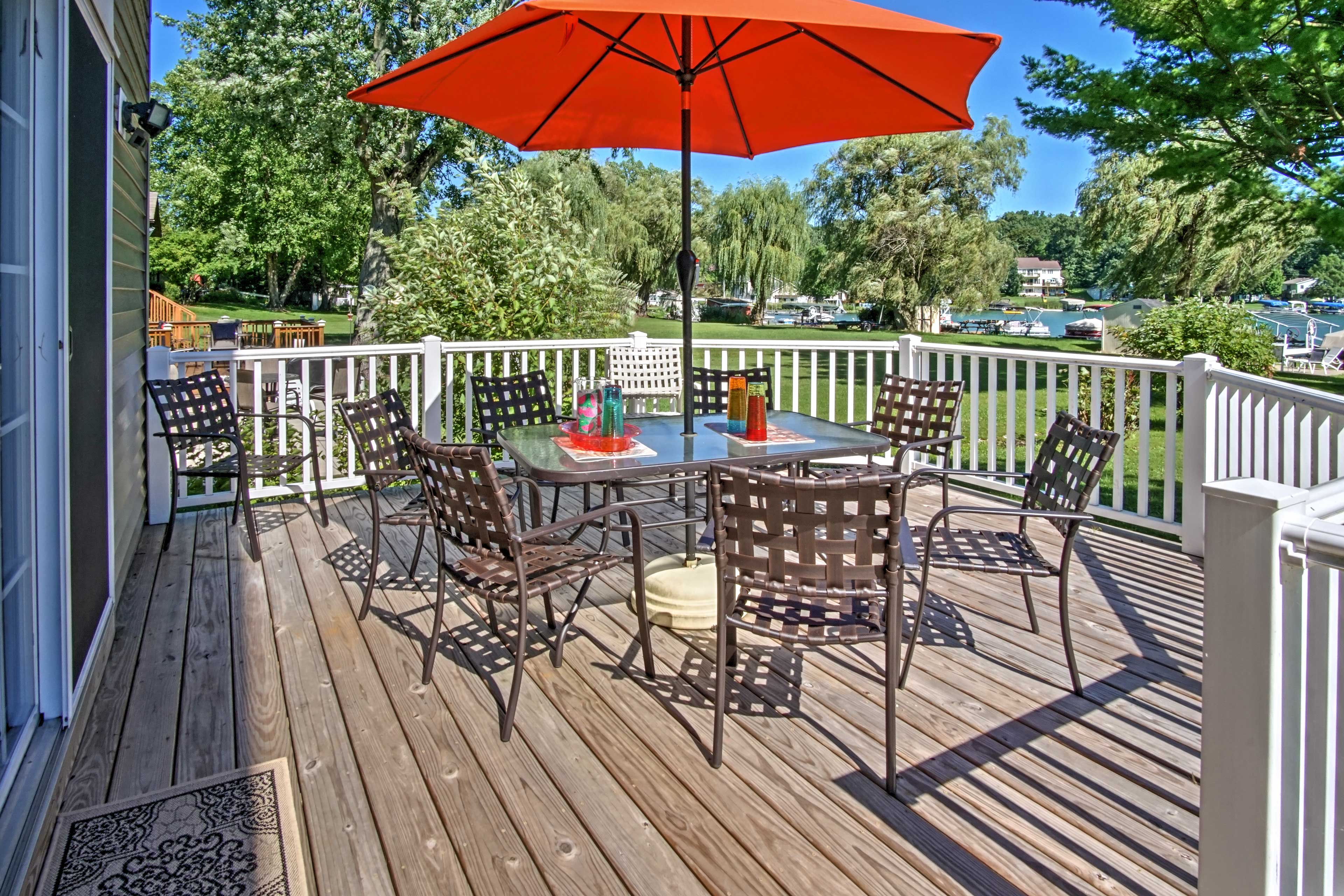 Relax and reconnect with family and friends on the back deck.