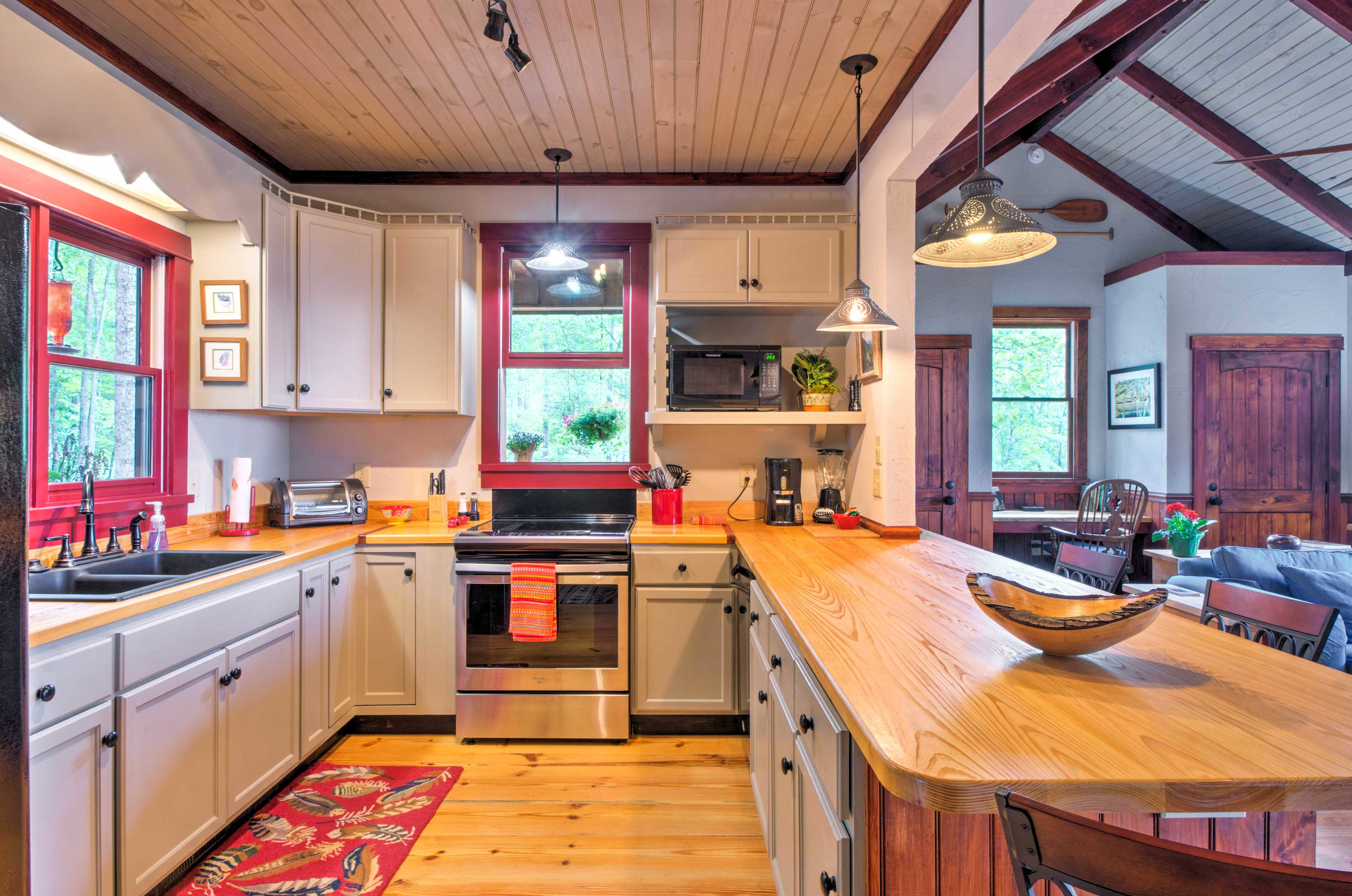 The spacious kitchen is great for those who love to cook.