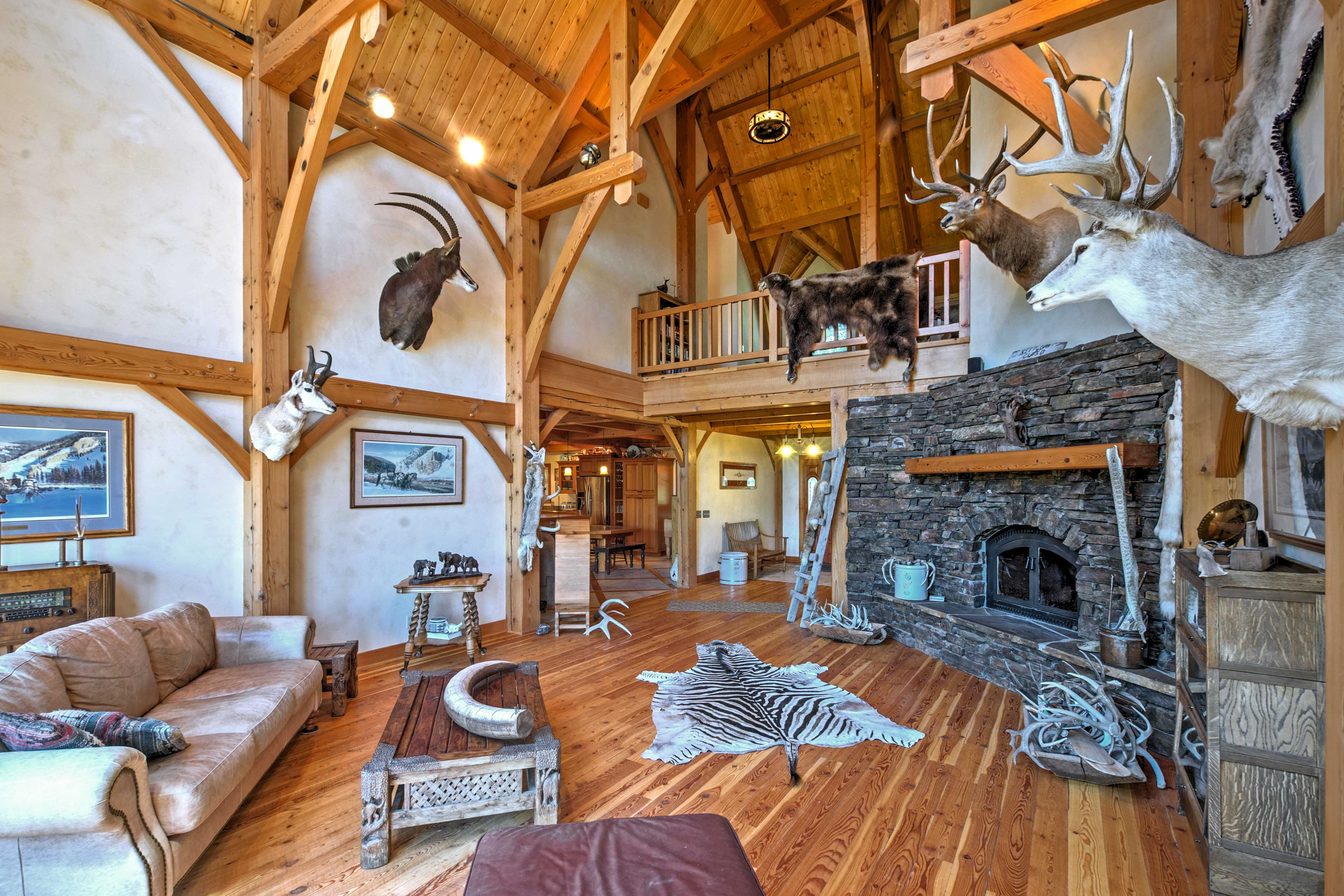 A beautiful timber frame interior creates a hunting lodge atmosphere.
