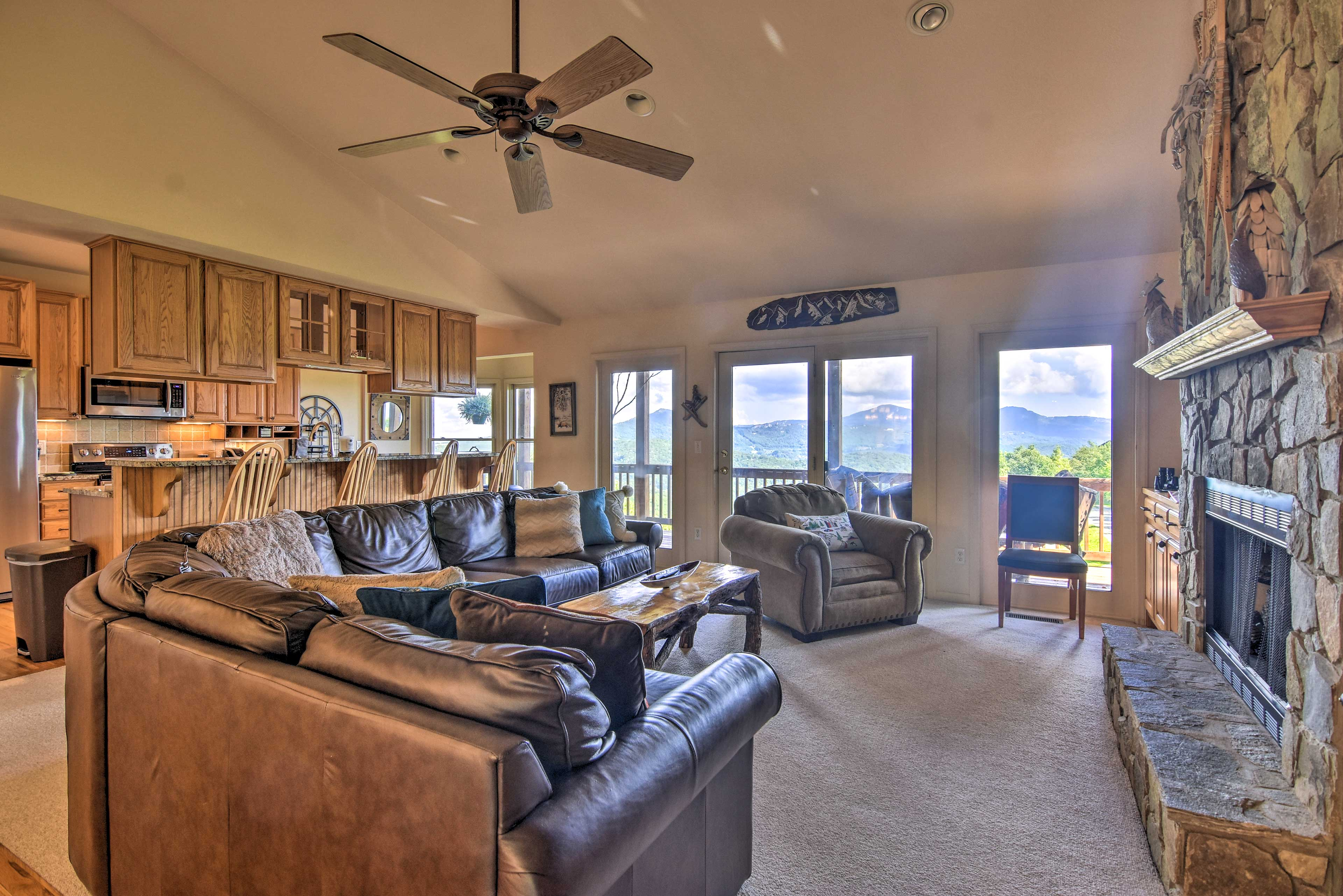 Enjoy stunning mountain views from inside or out.