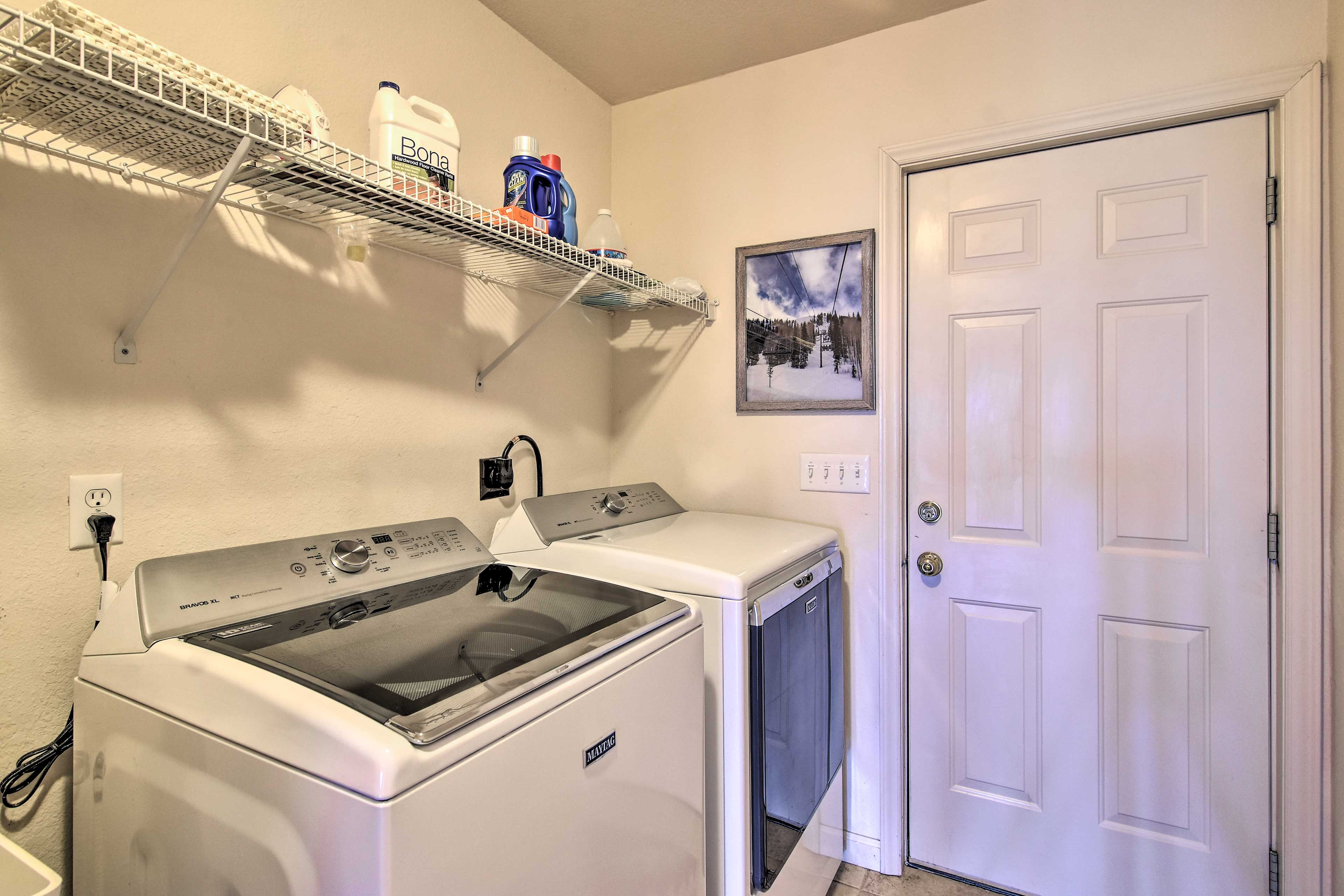 Pack light and play hard utilizing in-unit laundry machines.