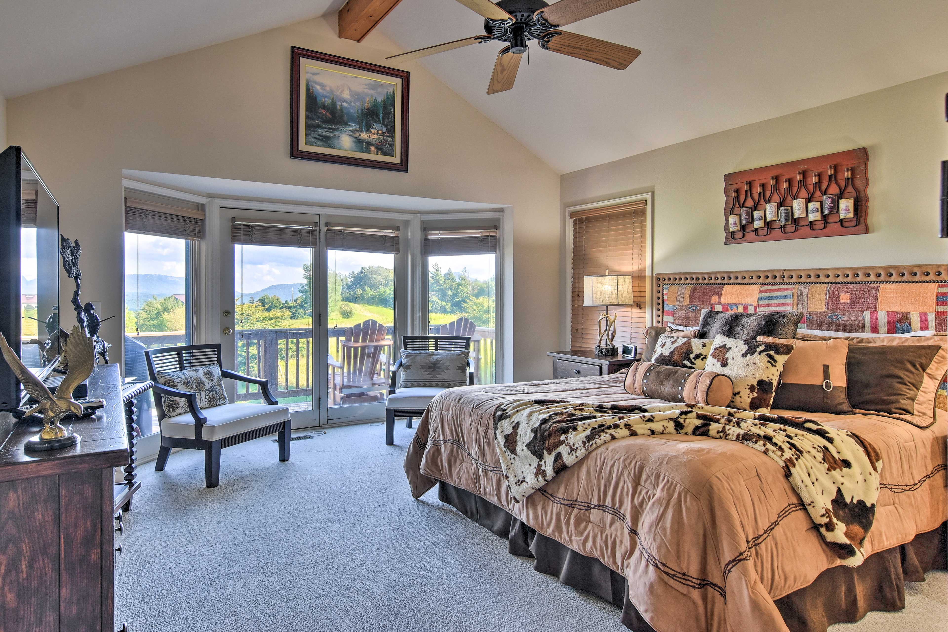 Wake up to mountain views or draw the blinds and sleep in.