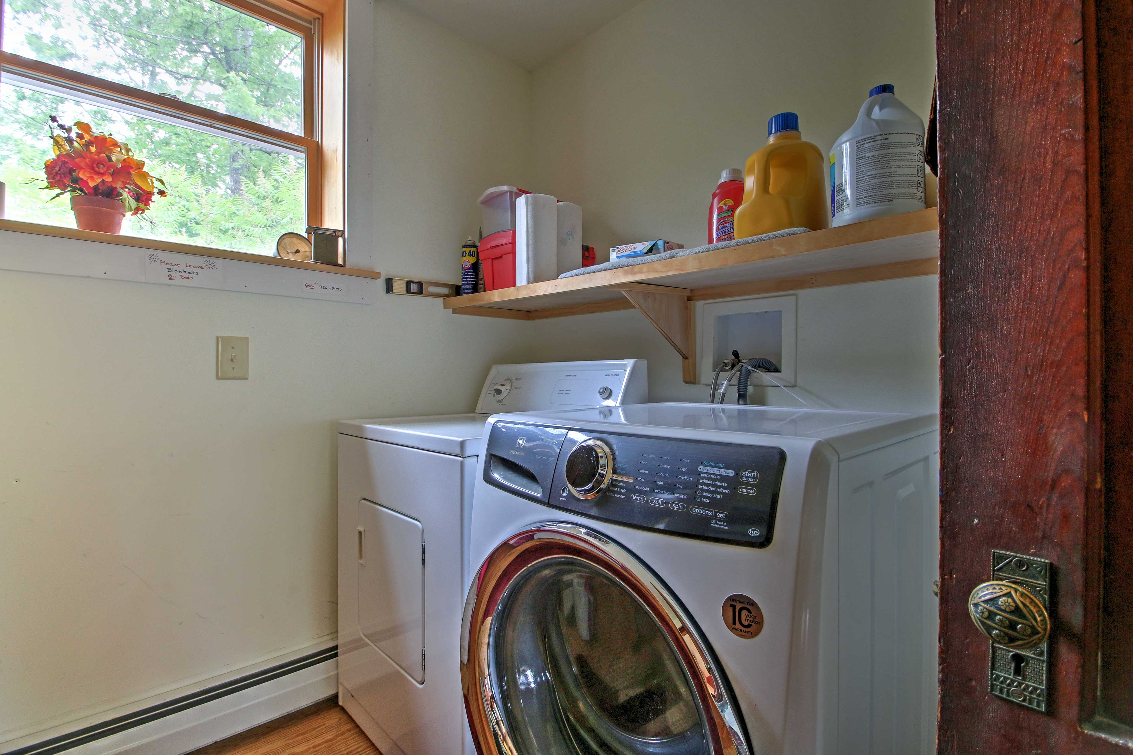 The property features all the amenities of home, including in-unit laundry machines.
