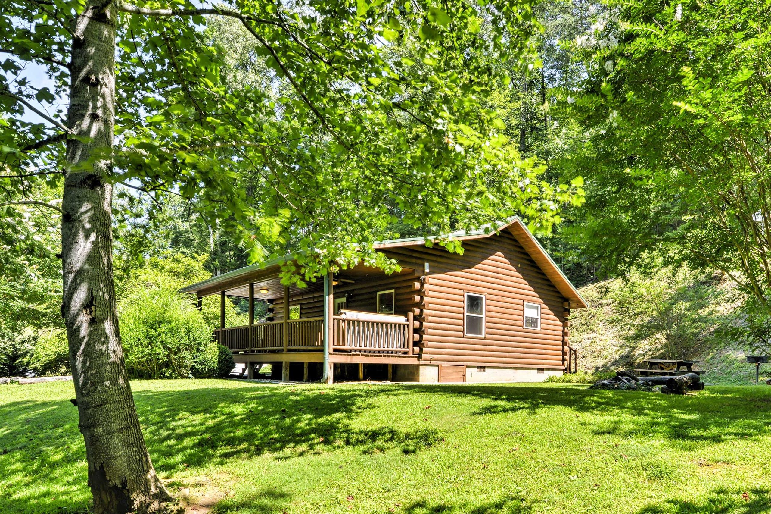 'Fox Creek Meadowside Cabin,' is a charming vacation rental cabin in Bryson City.