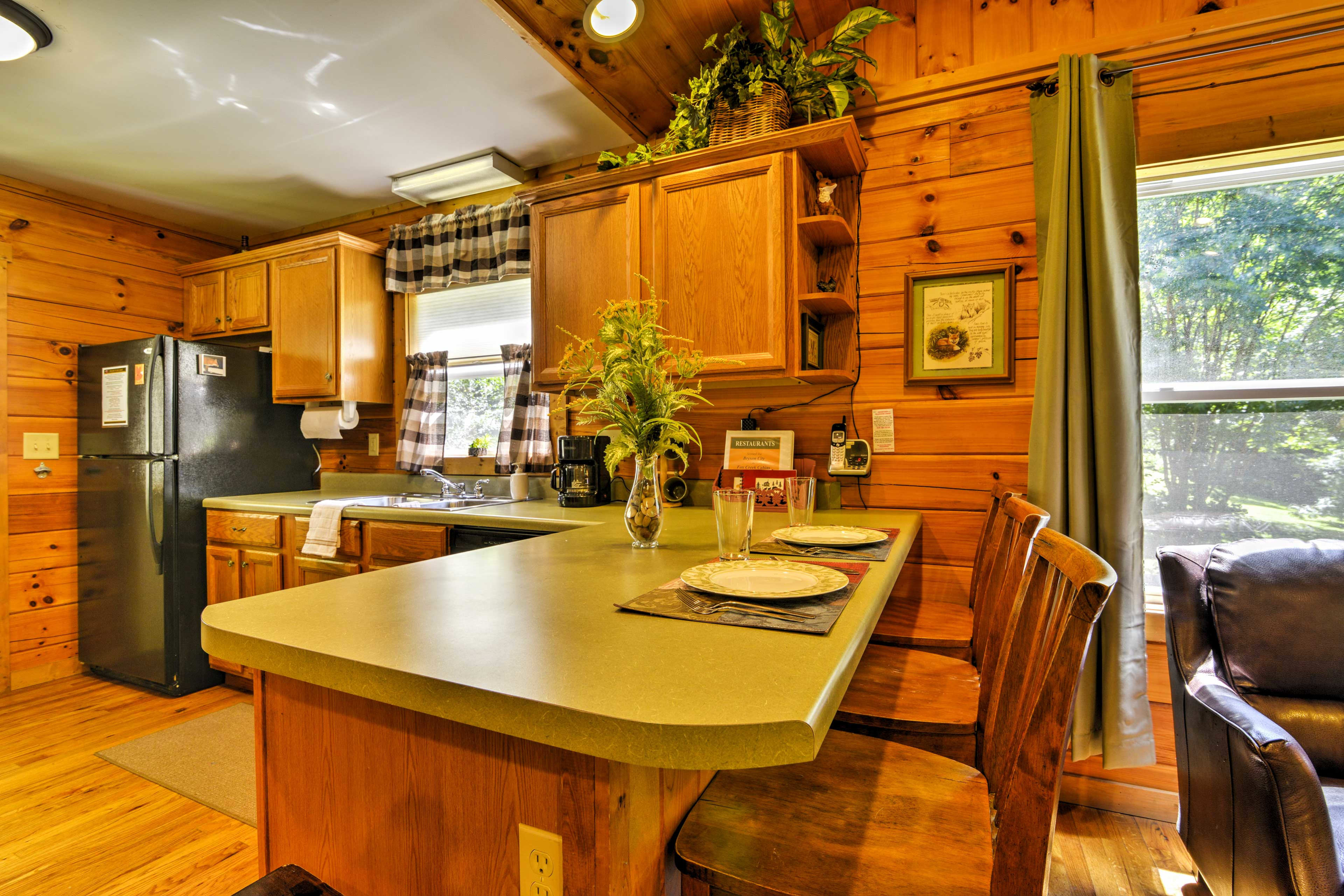 Pull up a chair to the kitchen bar to enjoy a snack!