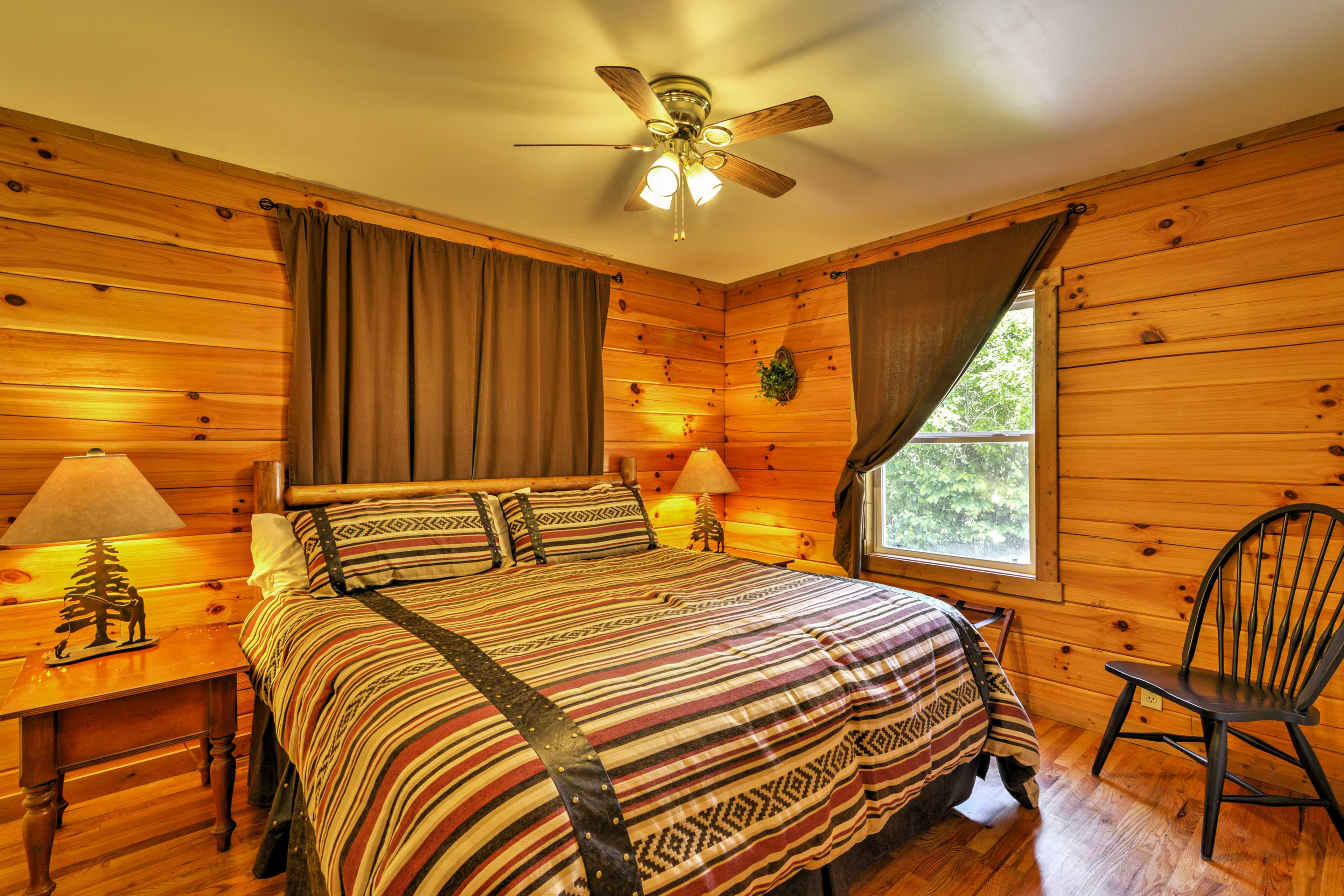 The master bedroom offers a king-sized bed.
