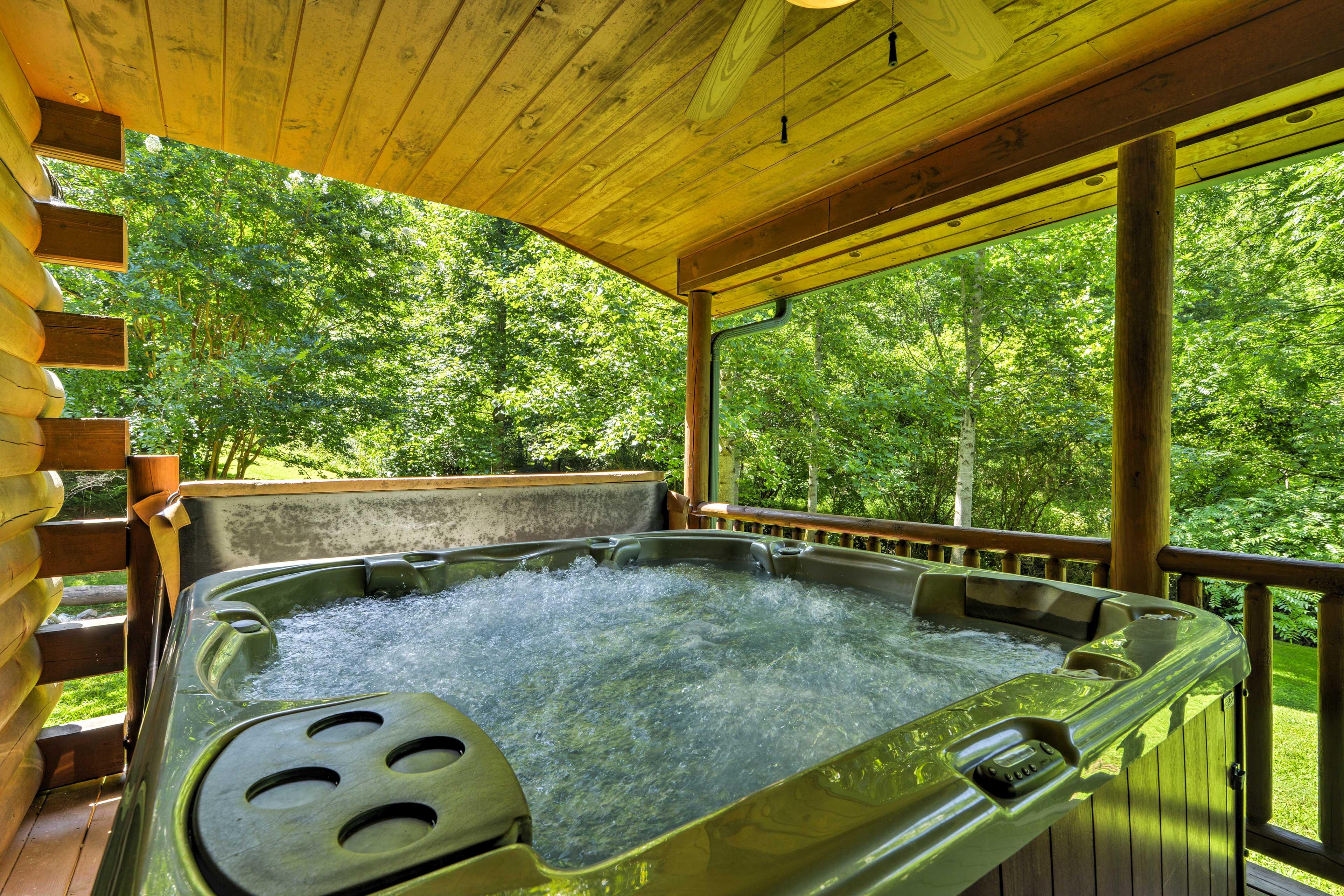 Soak your worries away in the hot tub.