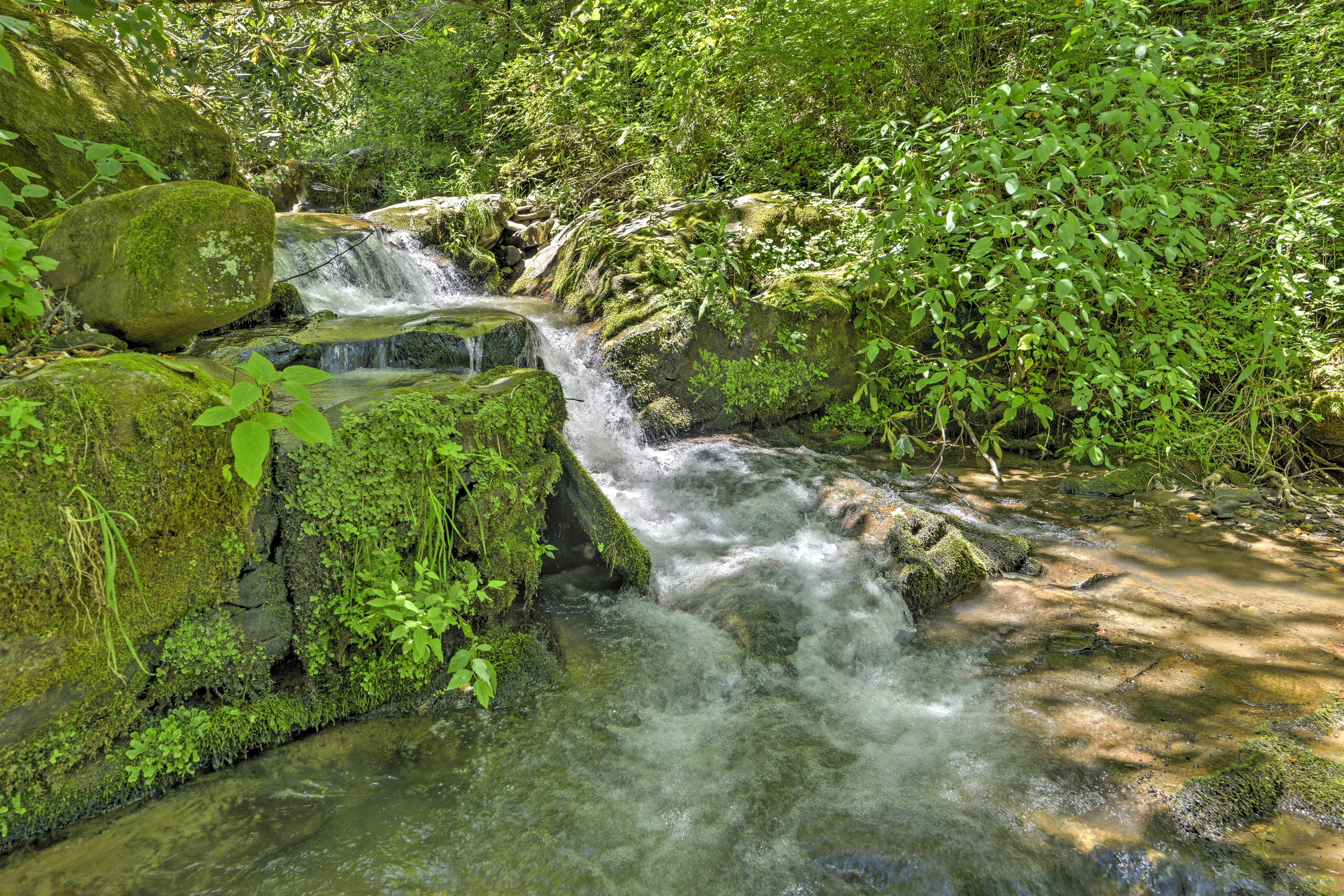 Take in the relaxing and soothing sounds of the waterfall.