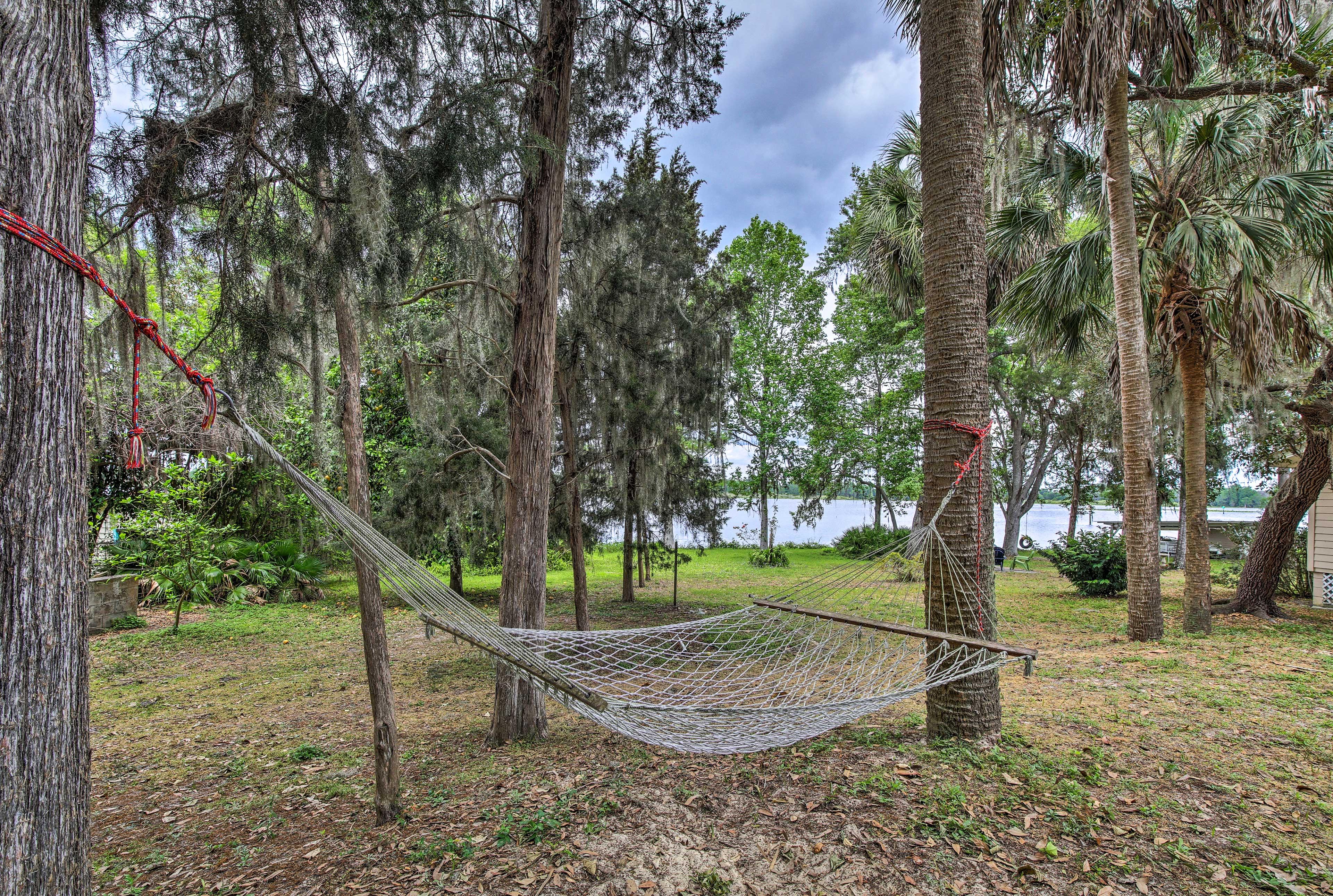 Lounge in the hammock or swing in the tire swing!