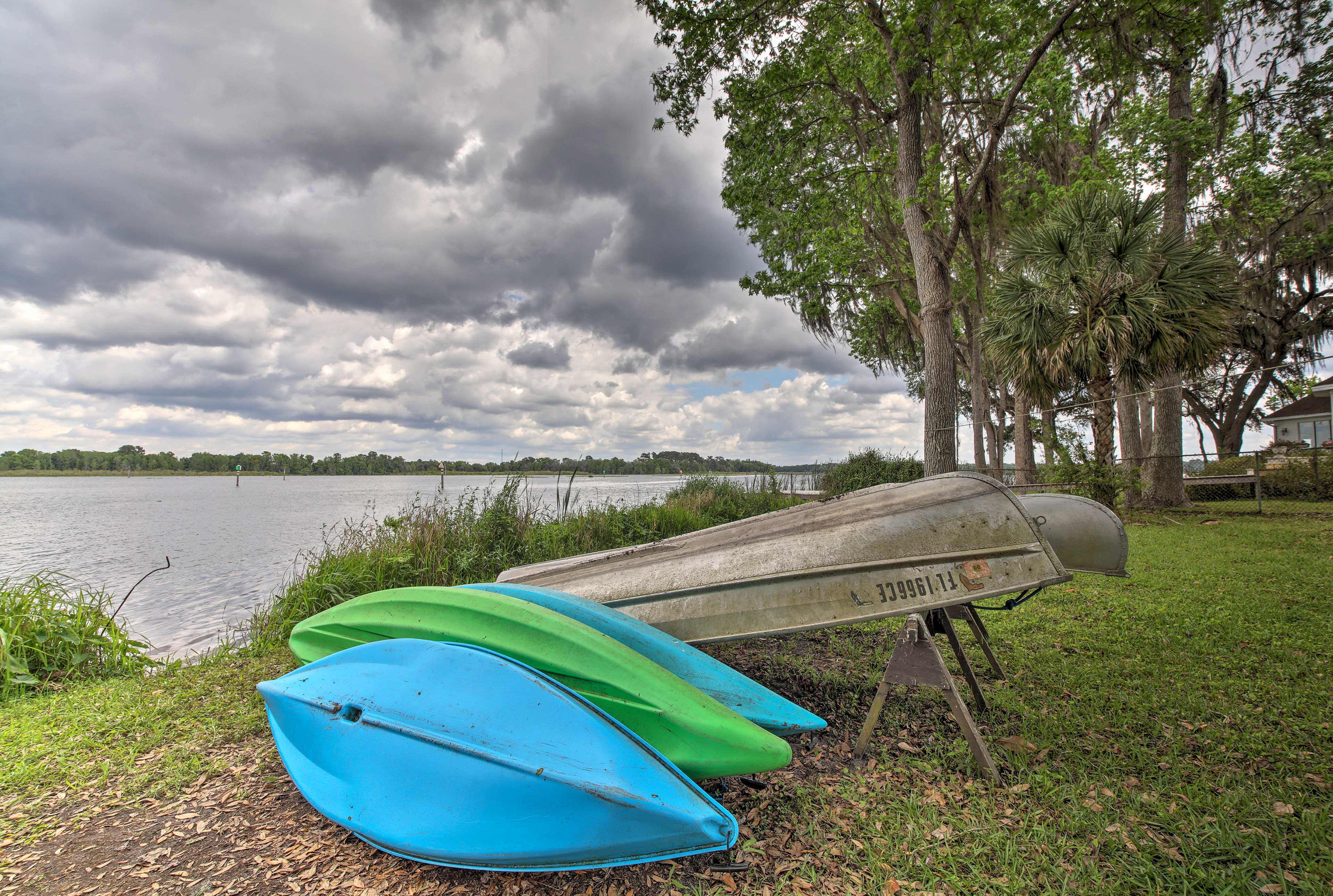Use the canoe or kayaks to explore the lake!