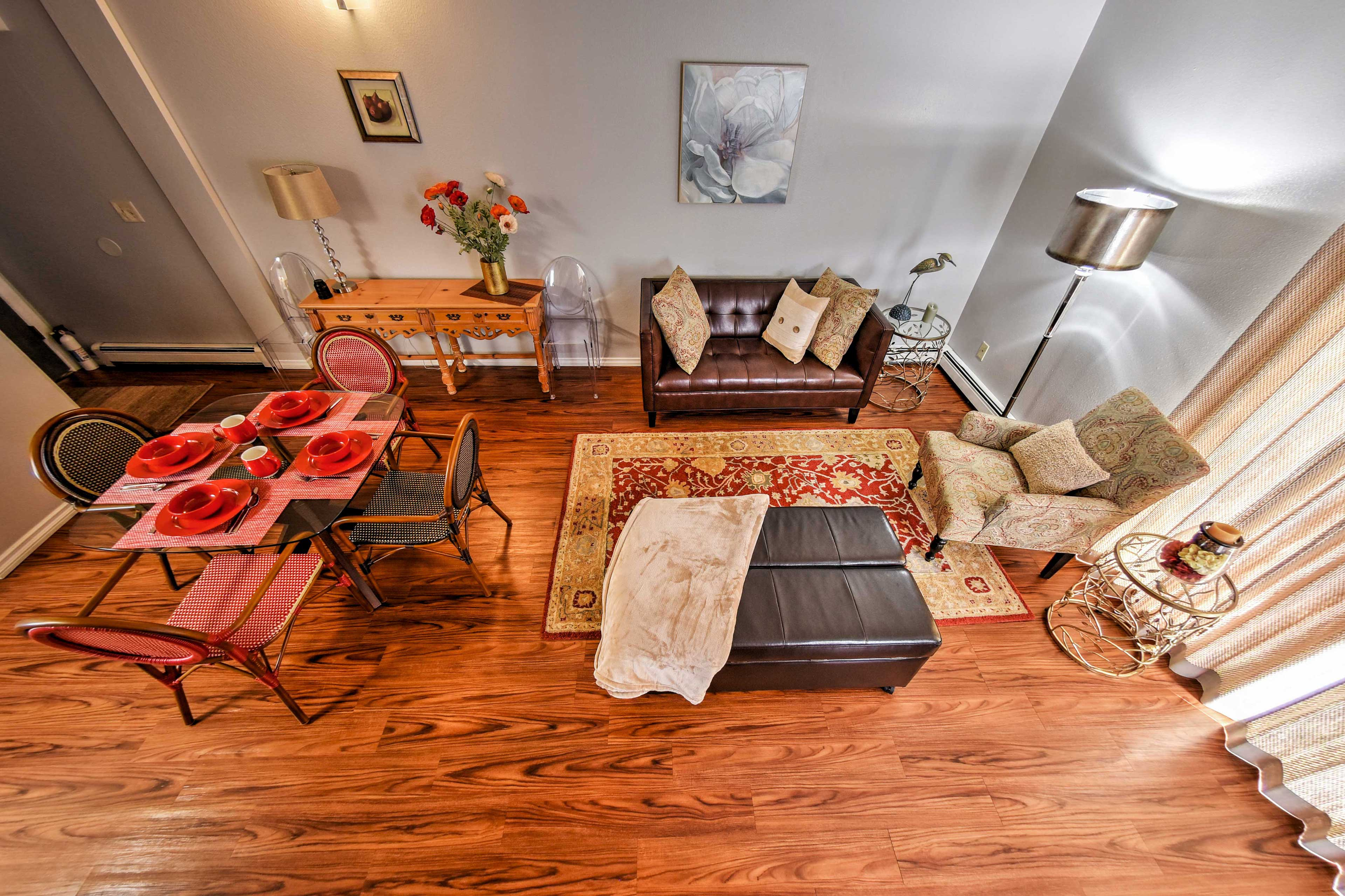 The open-concept floorplan provides a great space to relax during your vacation.