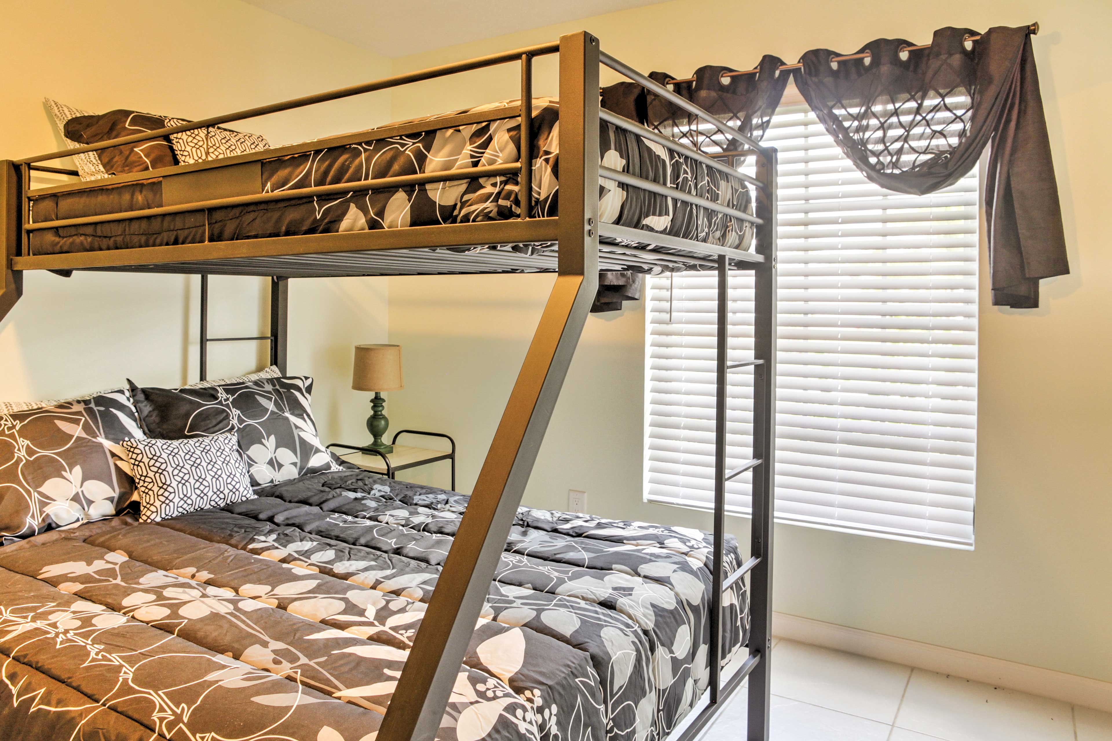 This room boasts a twin-over-queen bunk bed.