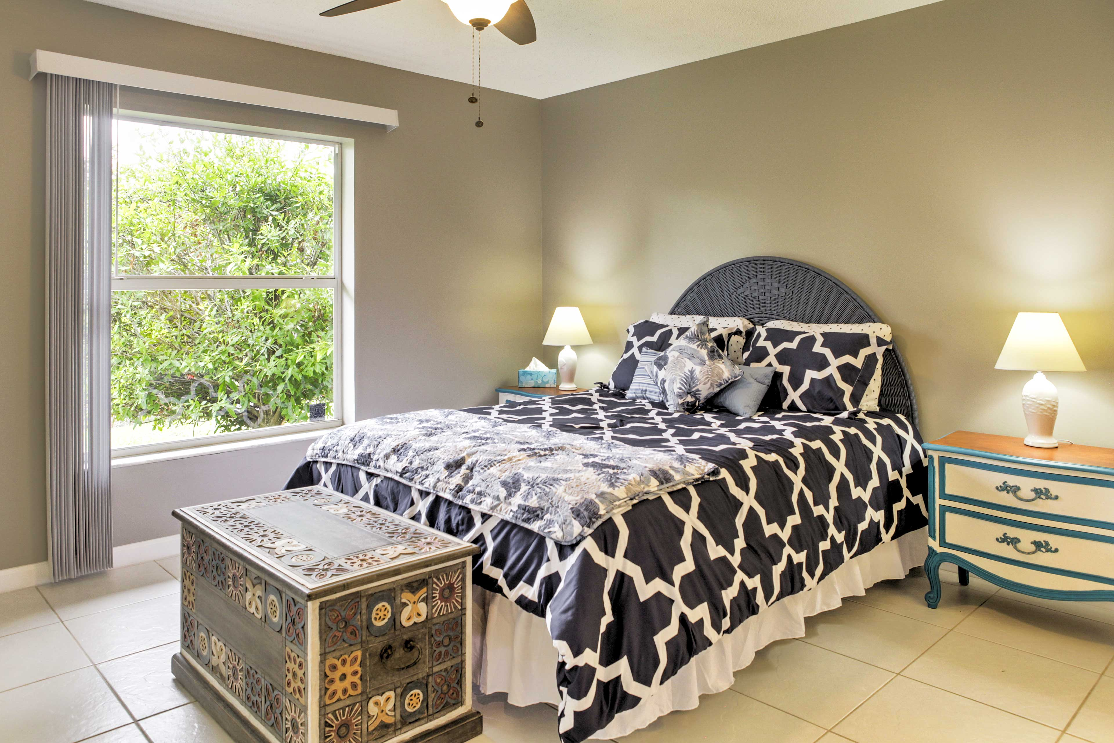 Fall asleep in the master bedroom's comfortable queen-sized bed.