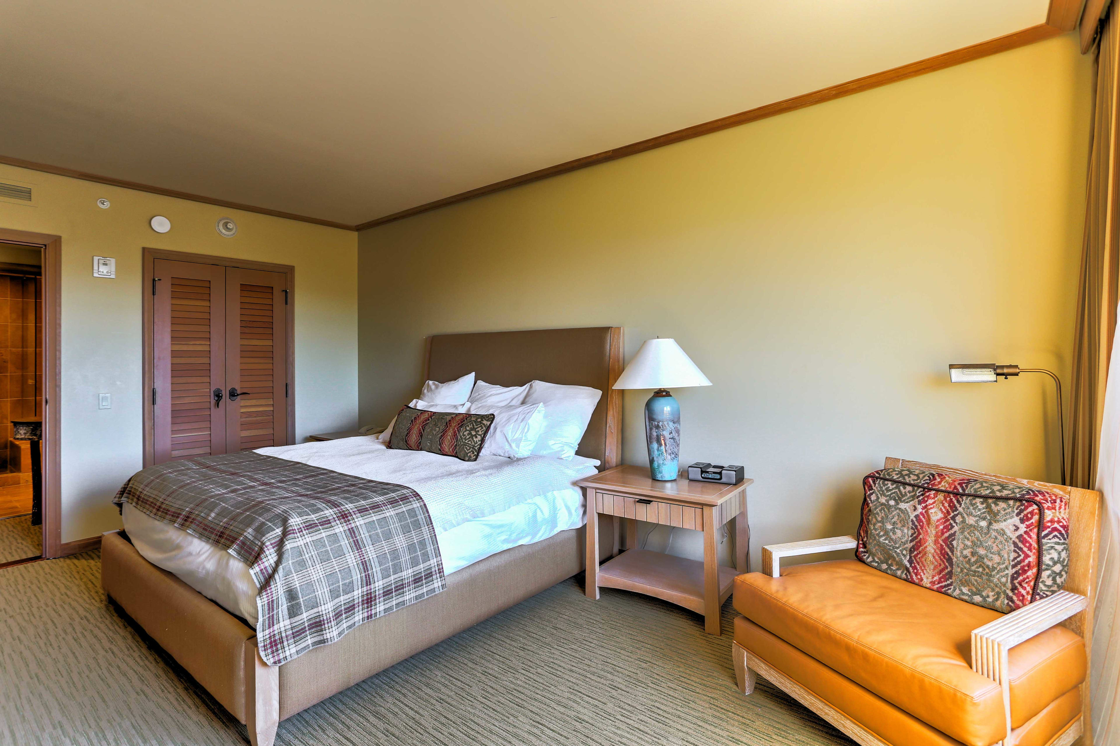 The bedroom offers a king-sized bed.