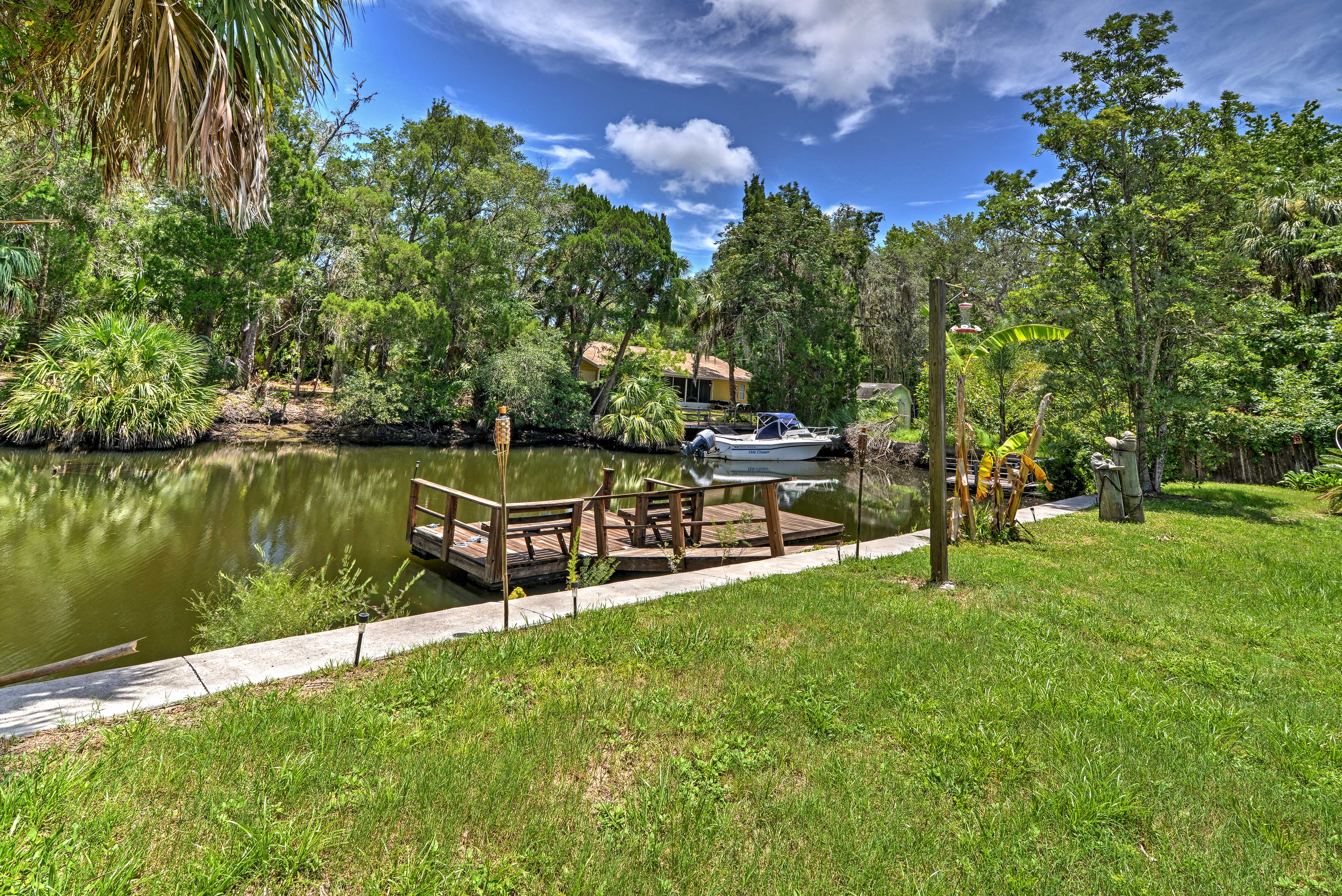 Take a seat on the private dock and try to spot a manatee or dolphin.