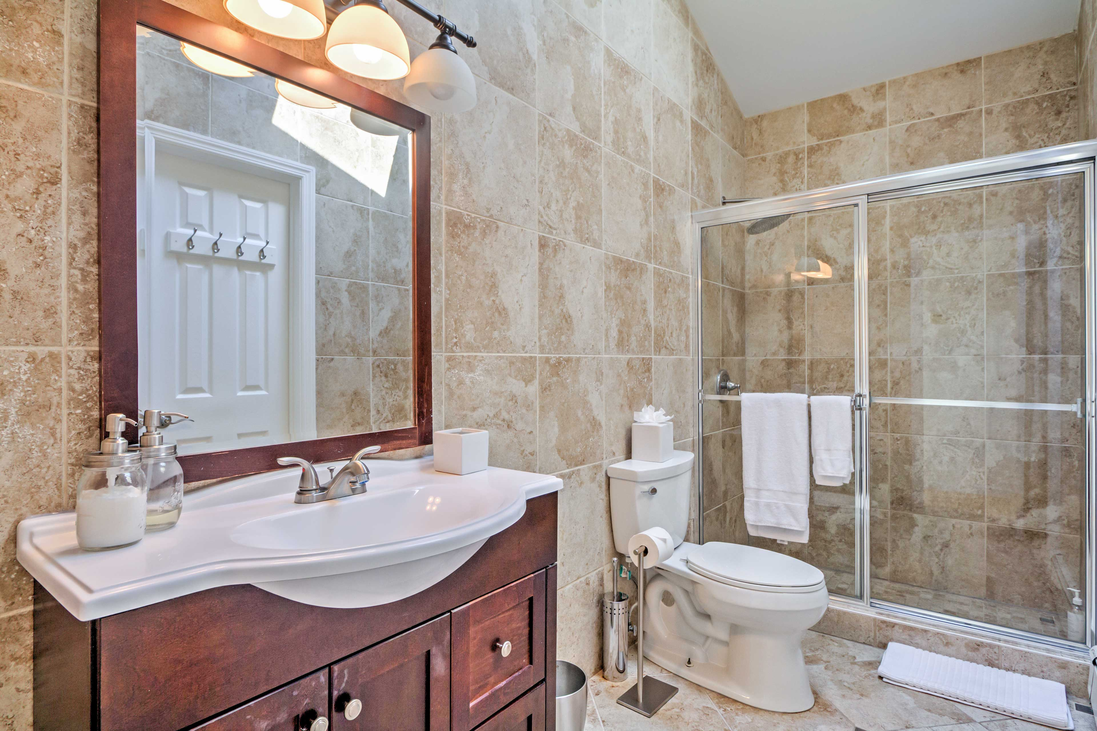 Freshen up in this clean bathroom.