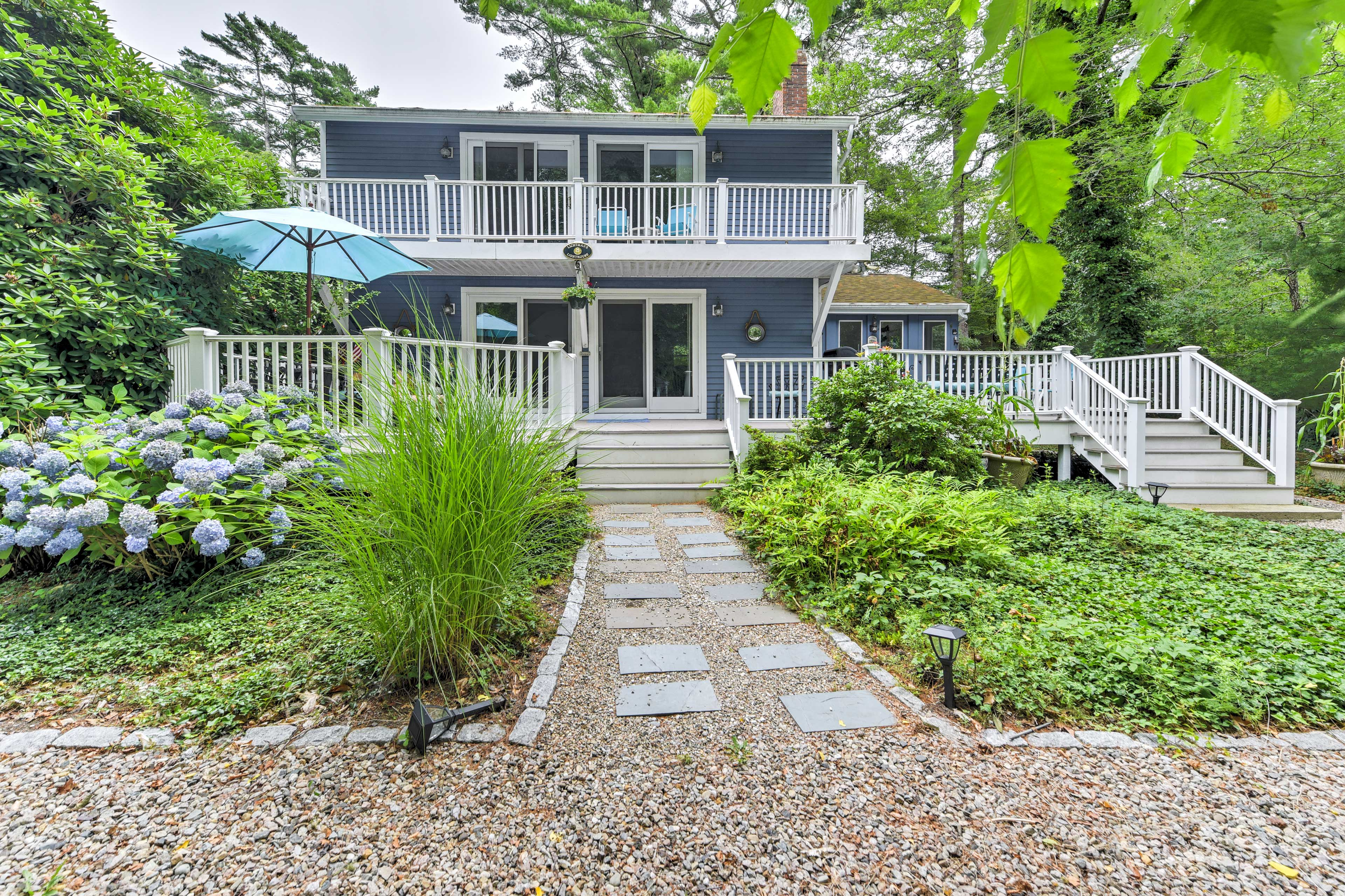 Bike or drive to South Cape Beach and New Seabury from this home for 7!