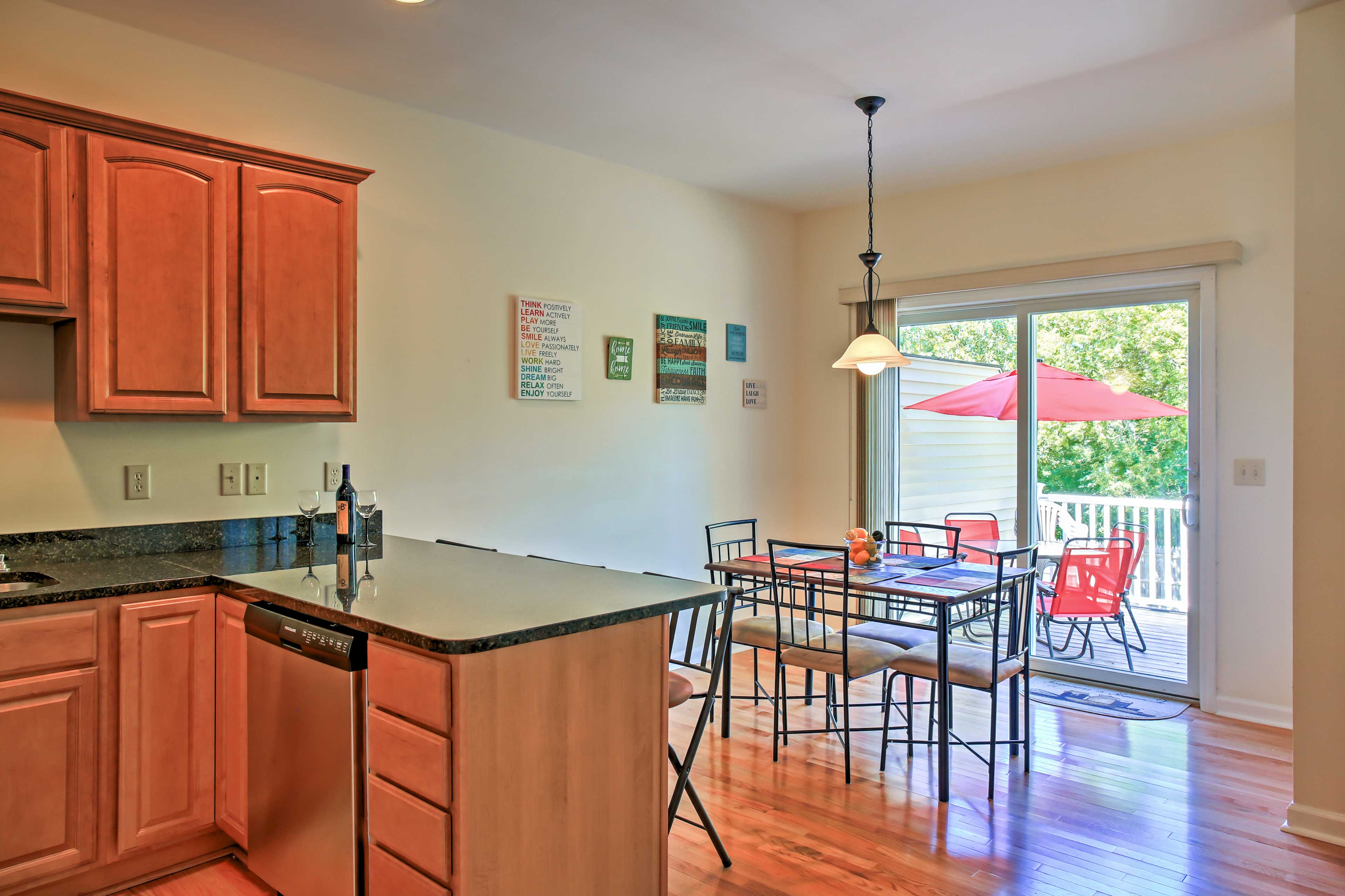 Keep the chef company at the bar, then enjoy casual meals in the breakfast nook.