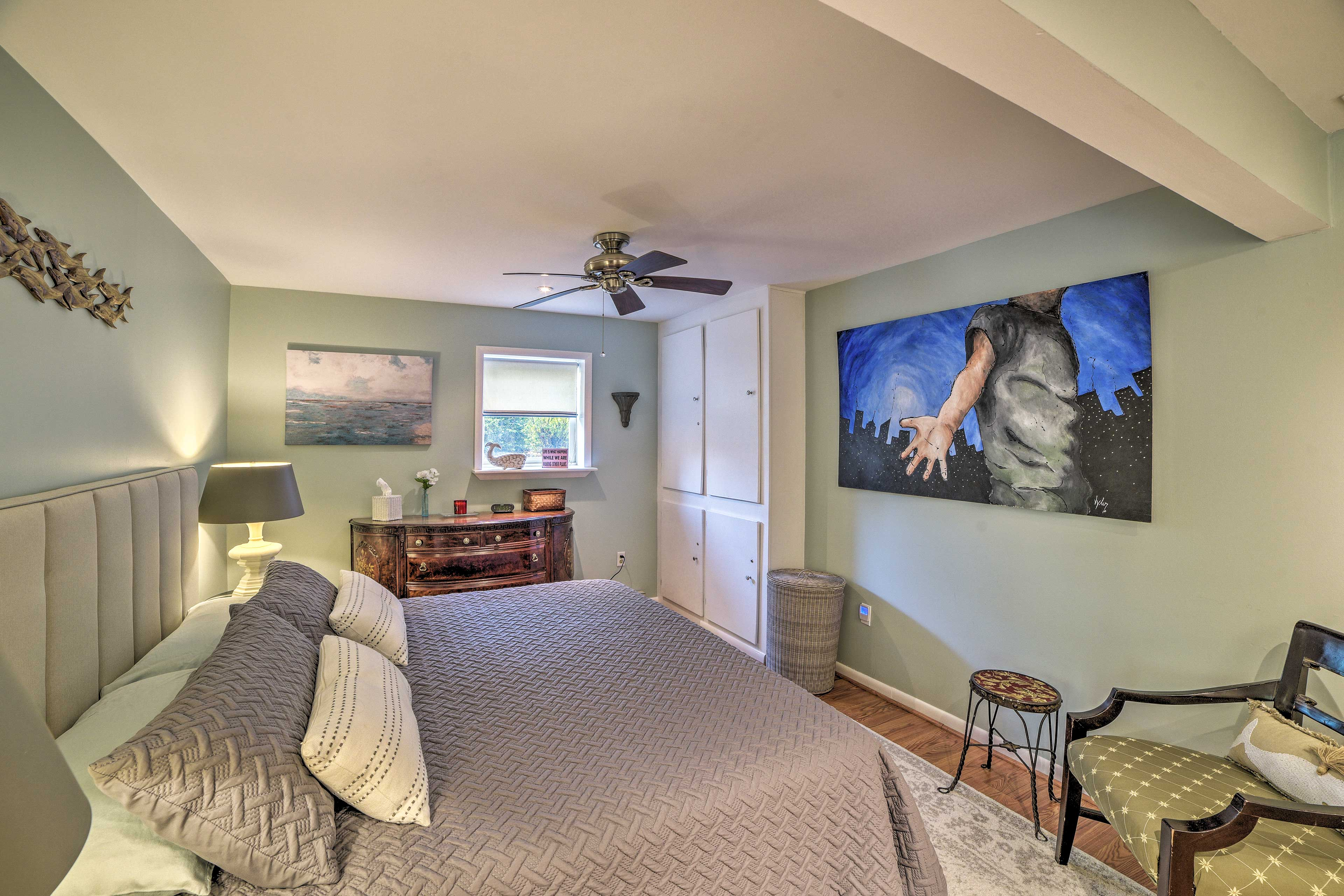 Wake up to unique artwork on the walls!