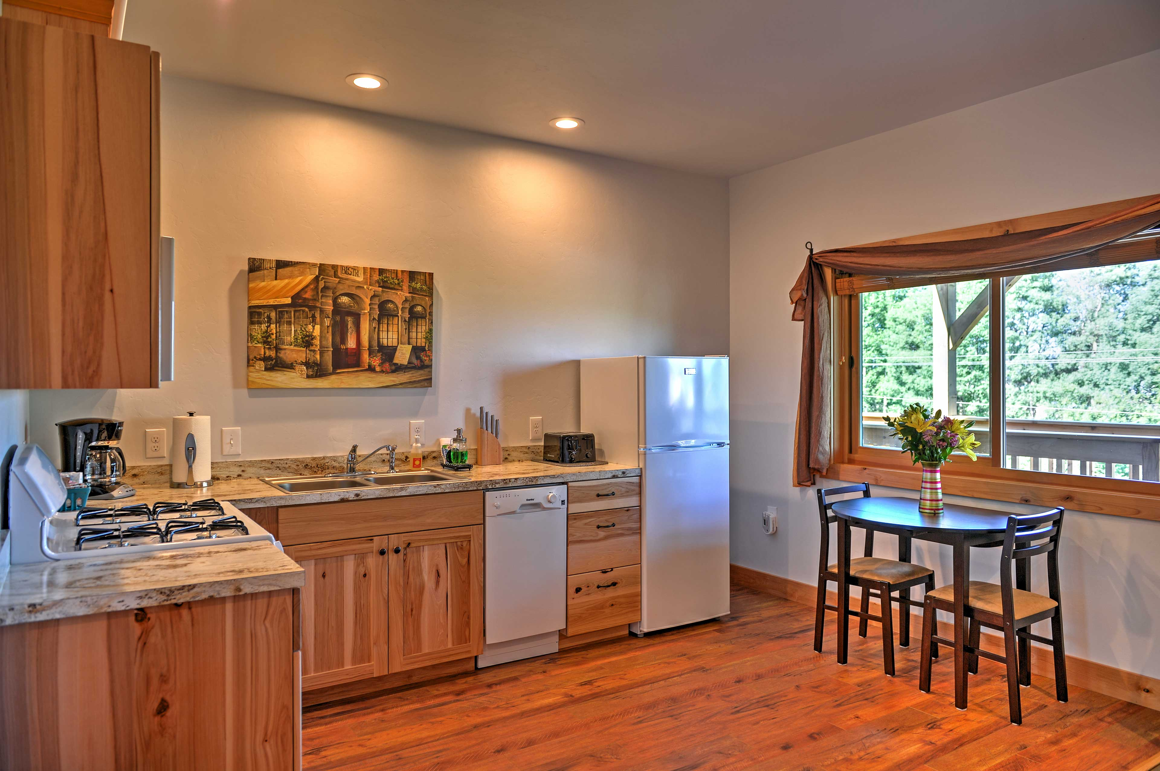 The 'Aerie' unit comfortably accommodates 2 for a romantic mountain getaway.