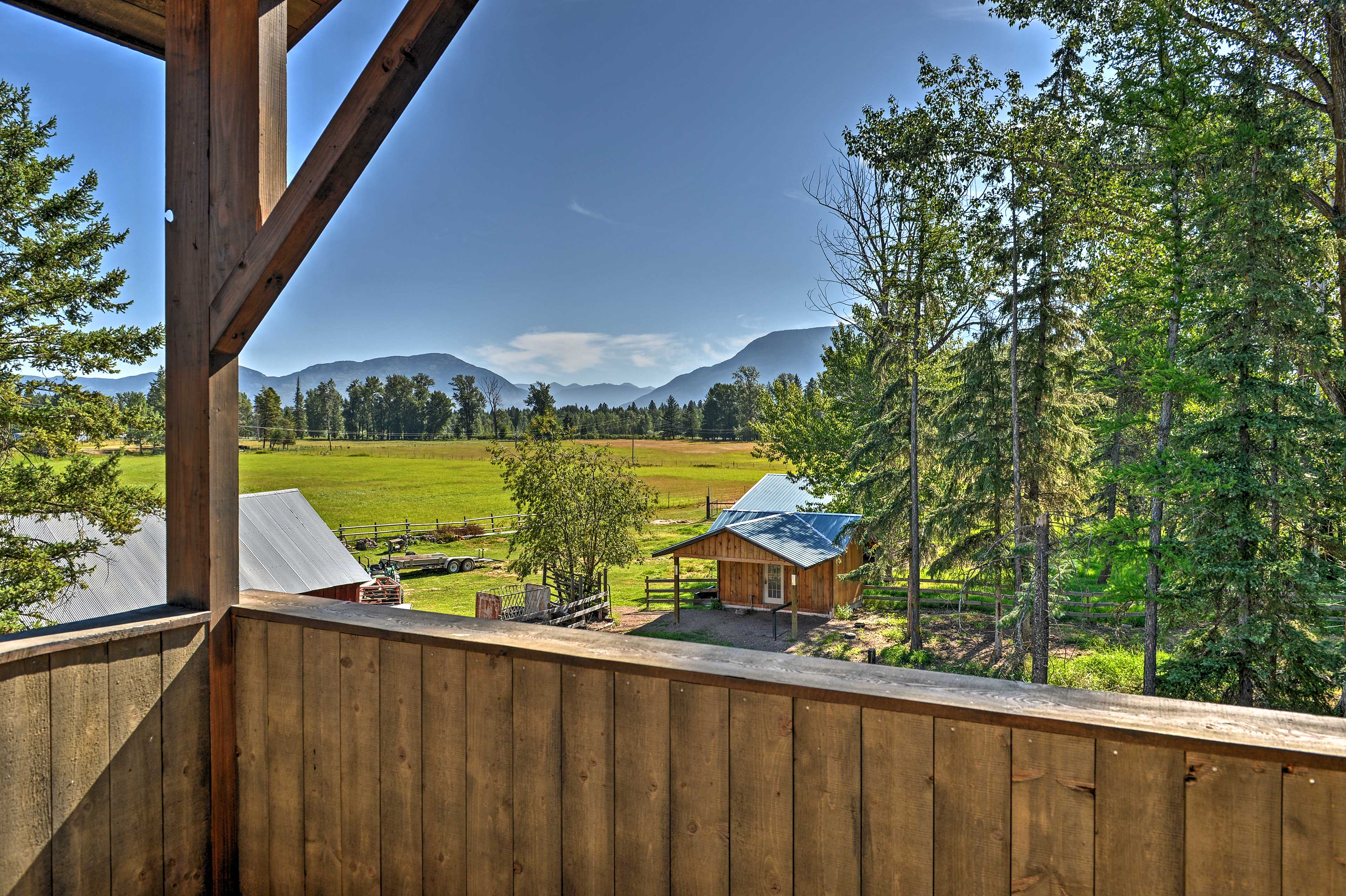 From the deck you'll have views of Flathead Valley and the Flathead River.