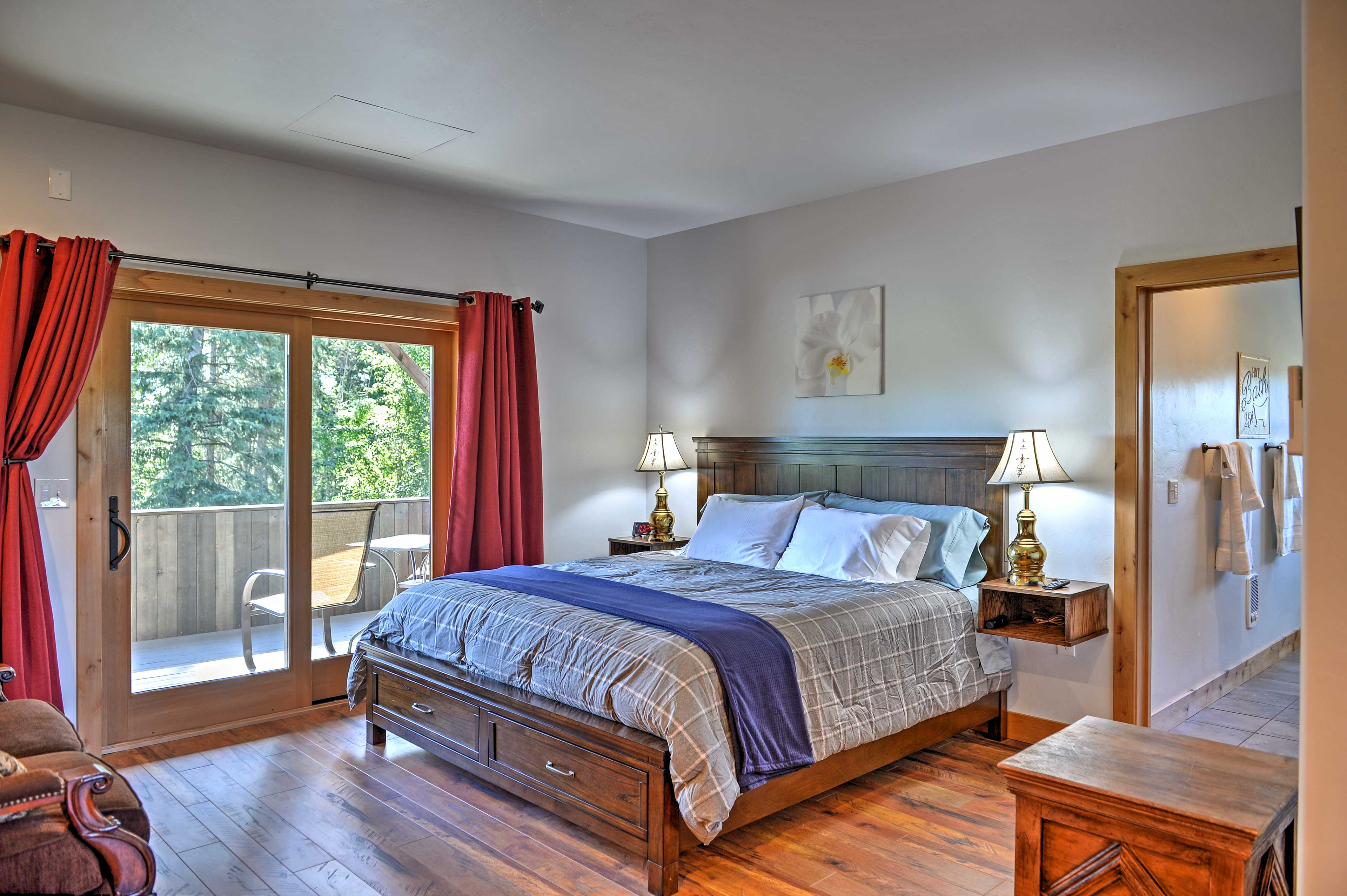 Walk from the master bedroom out to the private deck.