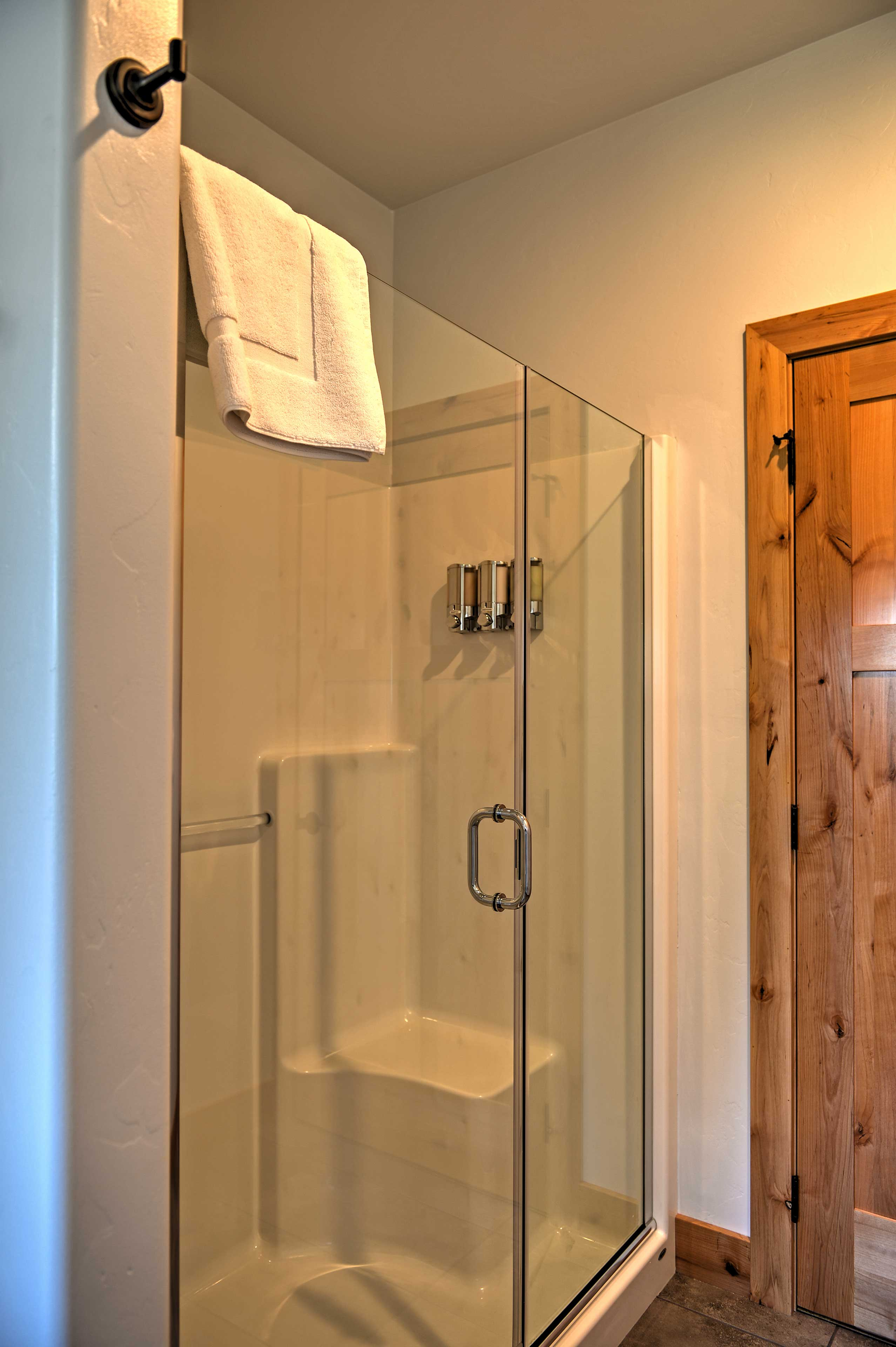 Refresh in the walk-in shower.