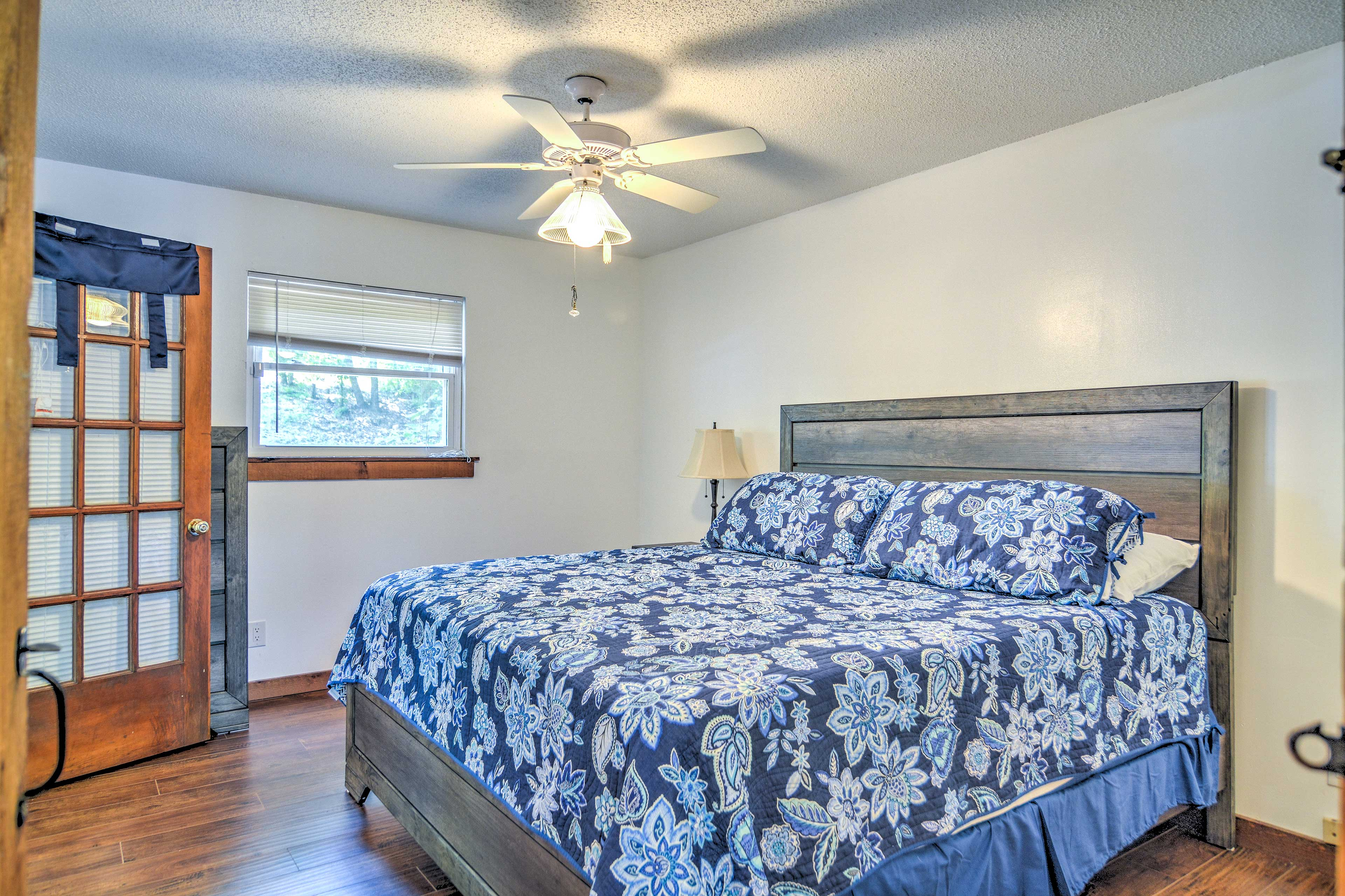Two guests will sleep comfortably in the king-sized bed in the master bedroom.