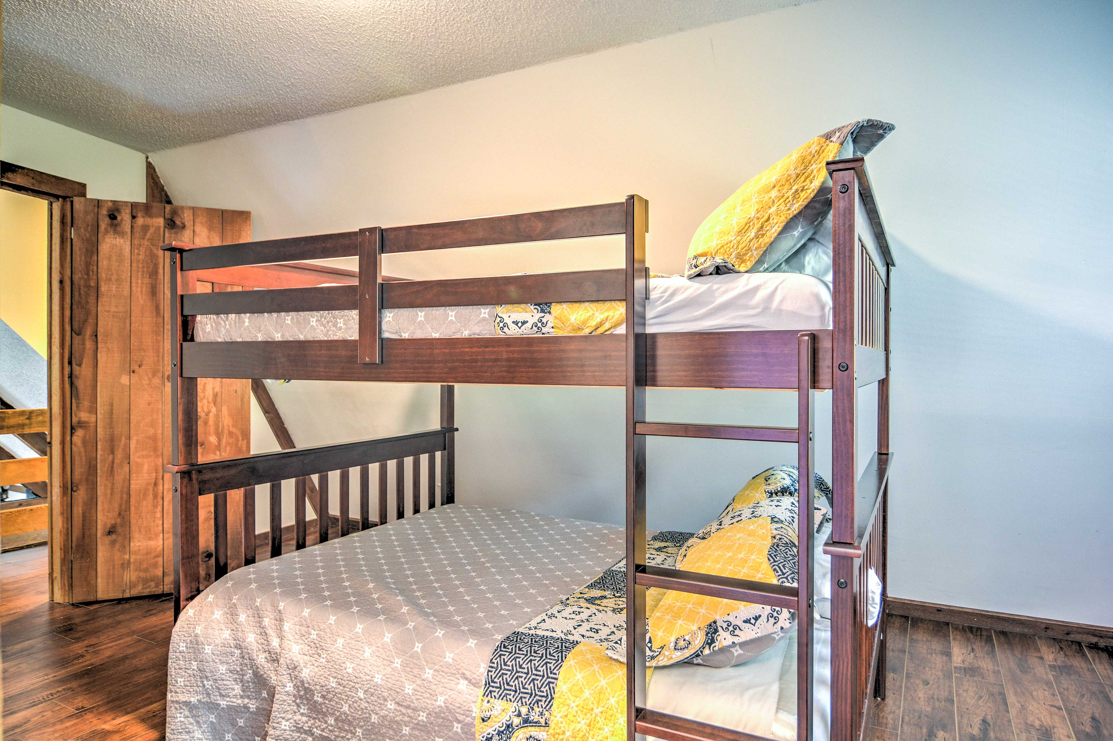 Children will enjoy the full-over-full bunk bed in the third bedroom.
