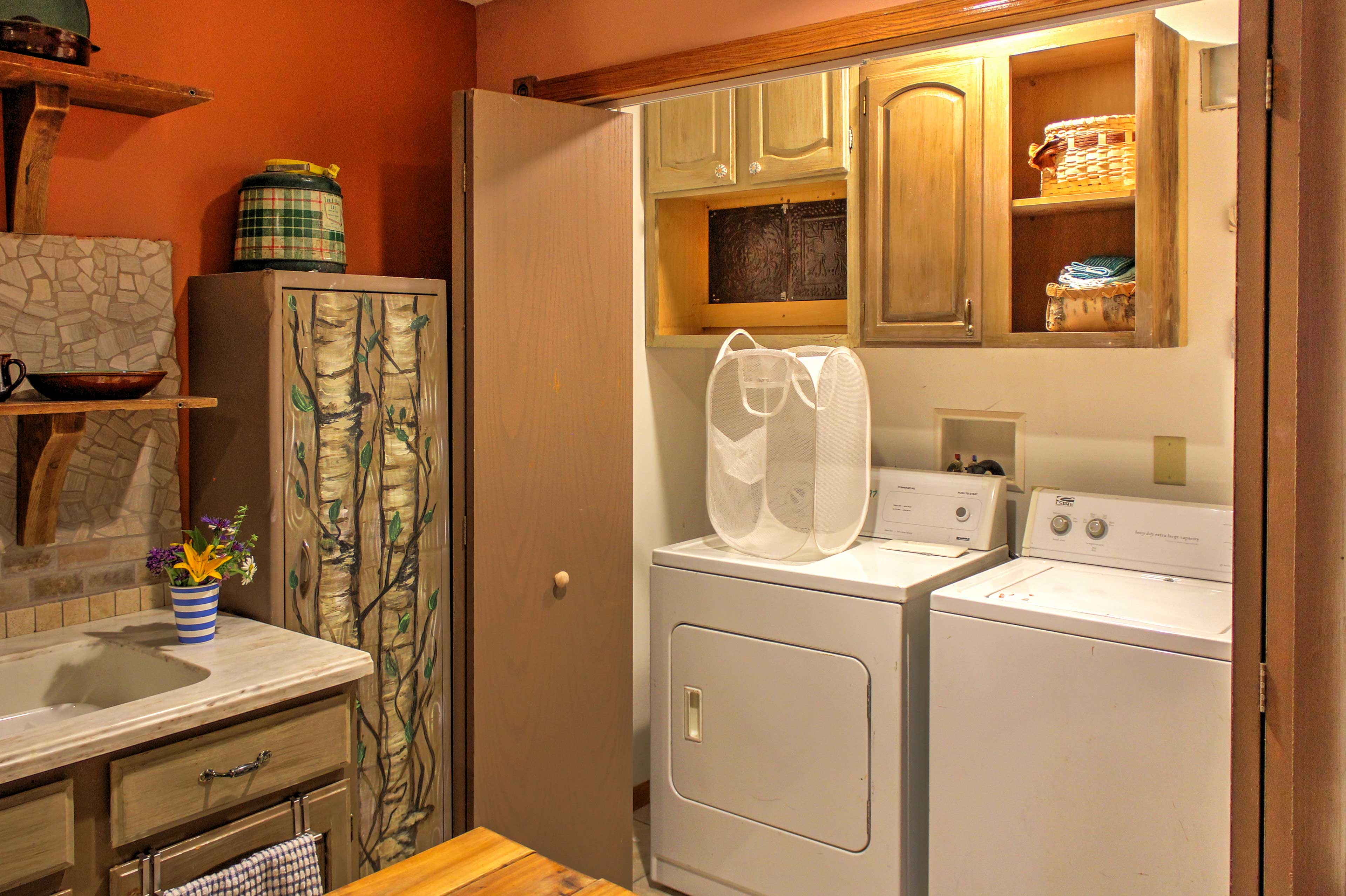 A washer and dryer can be found in the laundry closet off the kitchen.